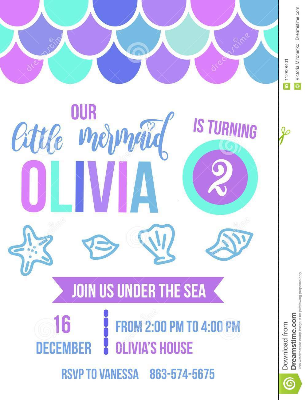 mermaid birthday party invitation card colorful fish scales and