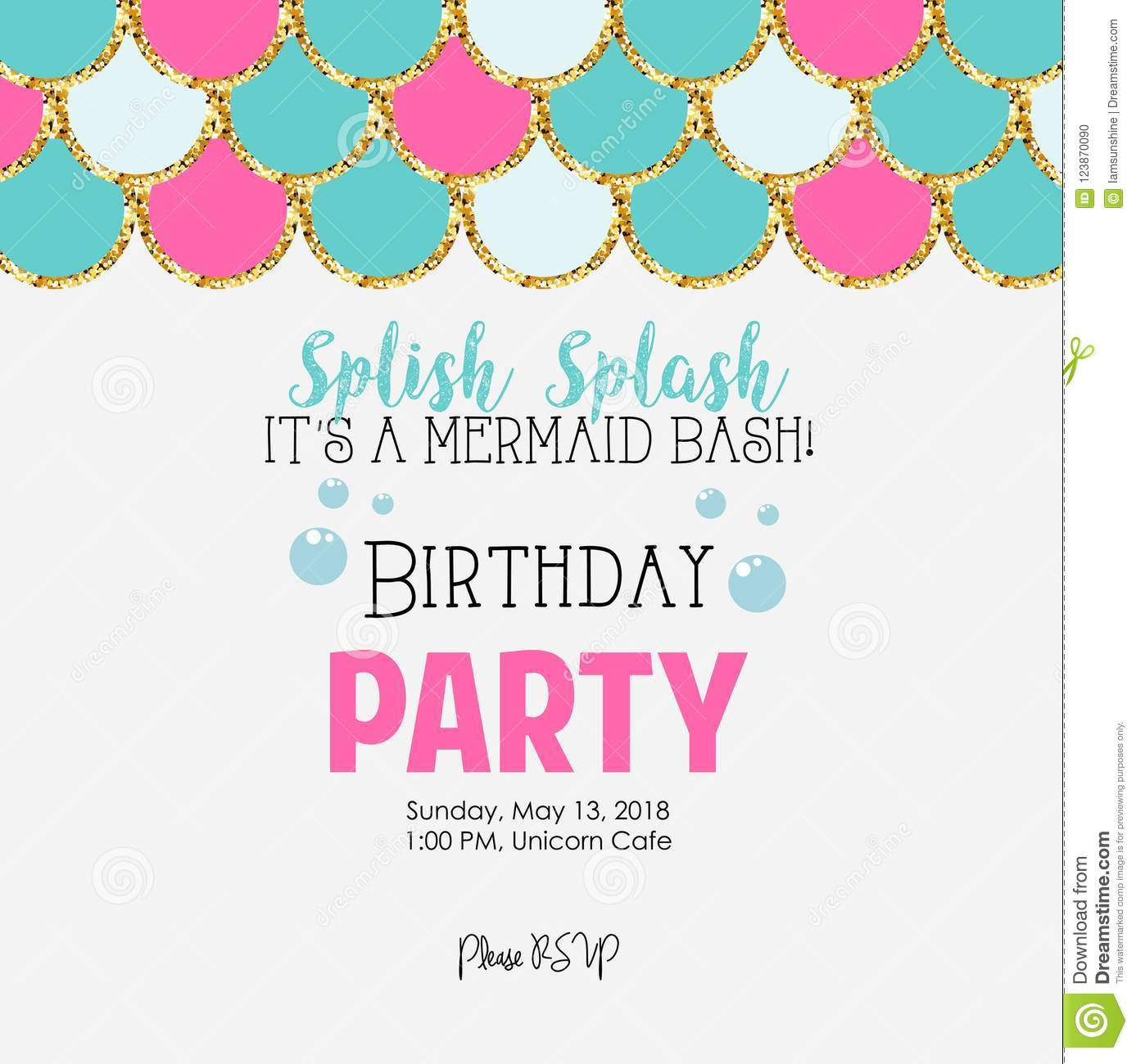 Mermaid Birthday Party Stock Vector Illustration Of Fantasy 123870090