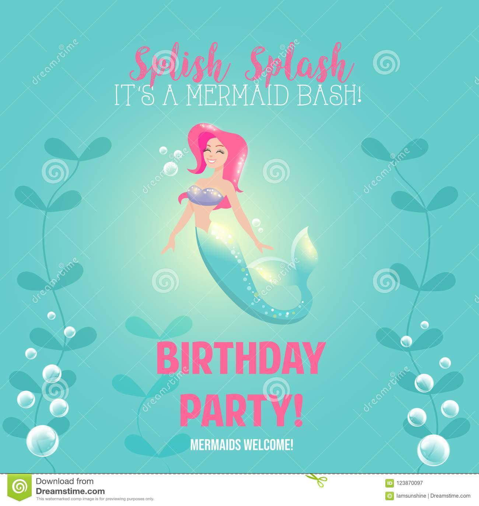 Mermaid Birthday Party Stock Vector Illustration Of Funny