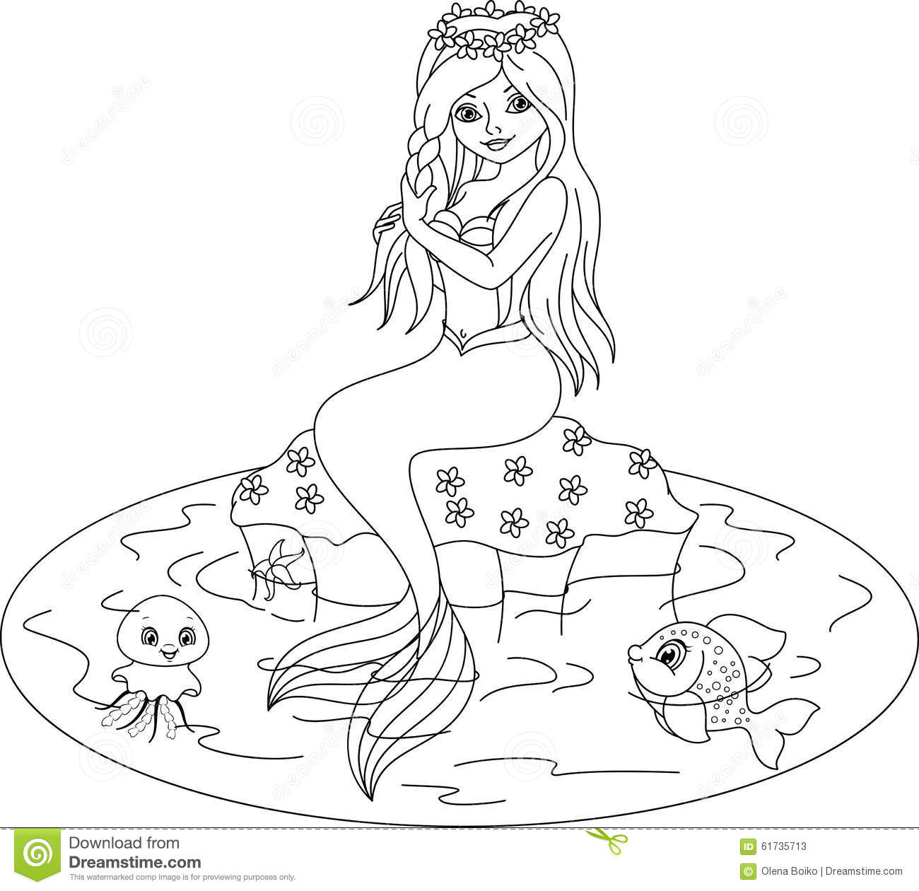 cute mermaid coloring pages Mermaid coloring page stock vector. Illustration of fantasy   61735713 cute mermaid coloring pages