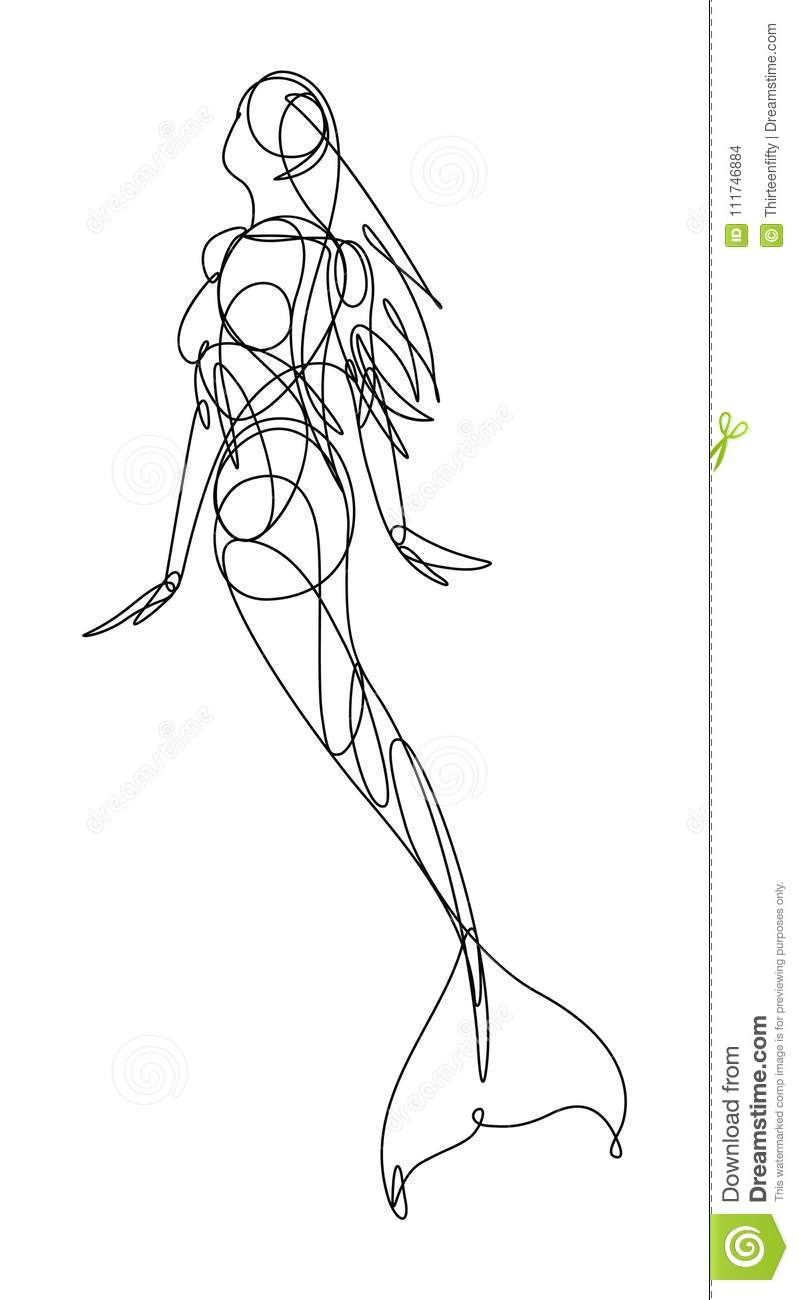Continuous Line Vector Illustration, Or Icon, Of A Swimming Mermaid Woman.