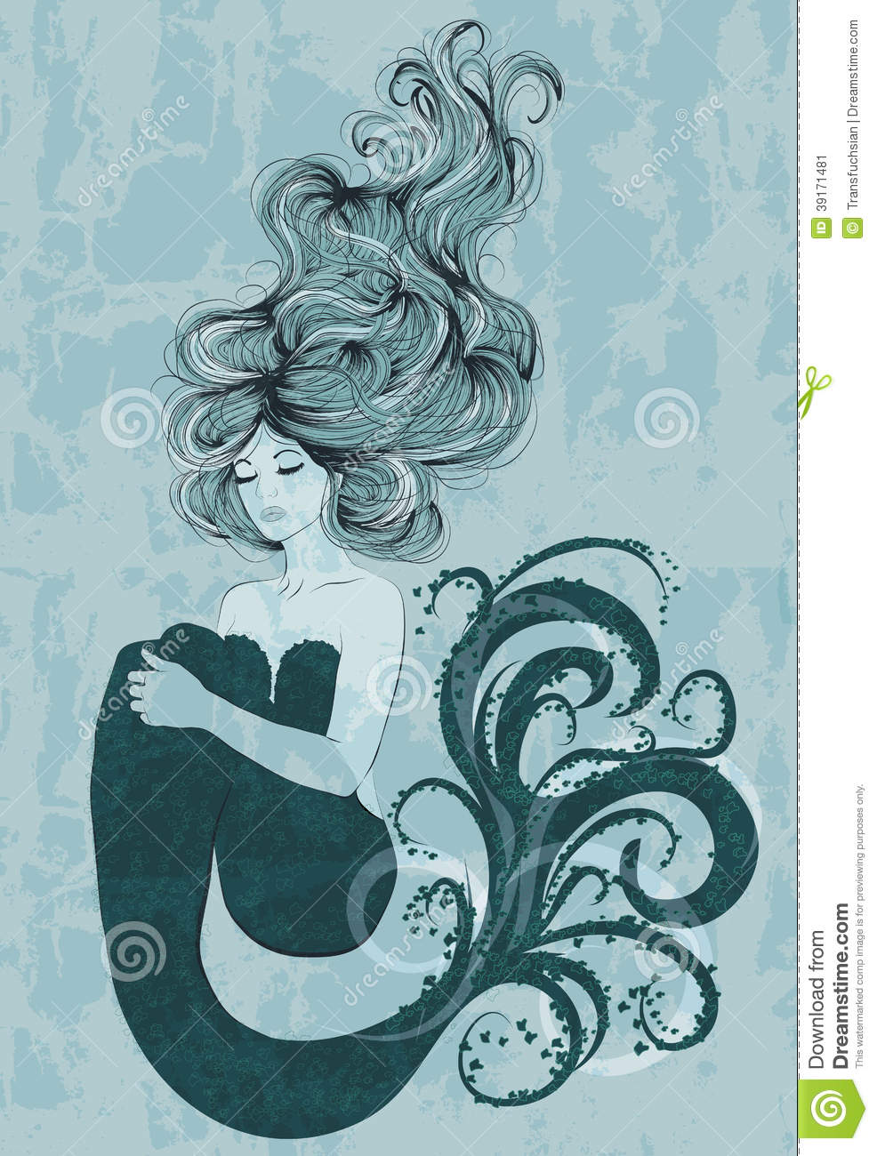 mermaid floating in water stock vector image of mermaid 39171481. Black Bedroom Furniture Sets. Home Design Ideas