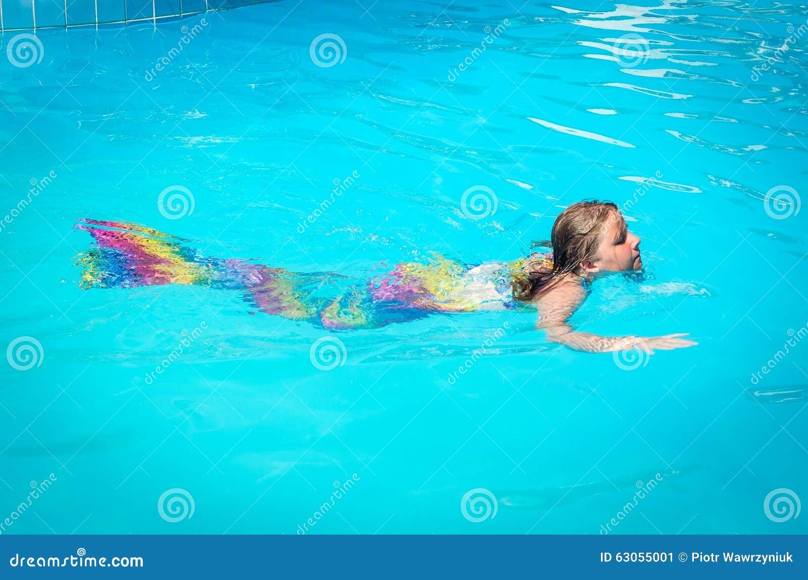 Mermaid Girl Swimming In The Pool Stock Photo Image 63055001