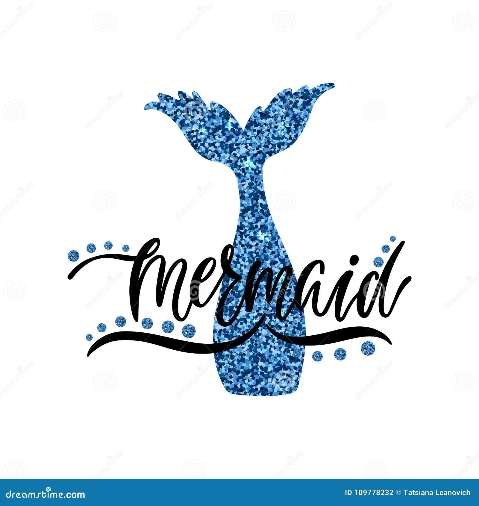 Mermaid Hand getrokken kalligrafietekst op glanzend silhouet van me