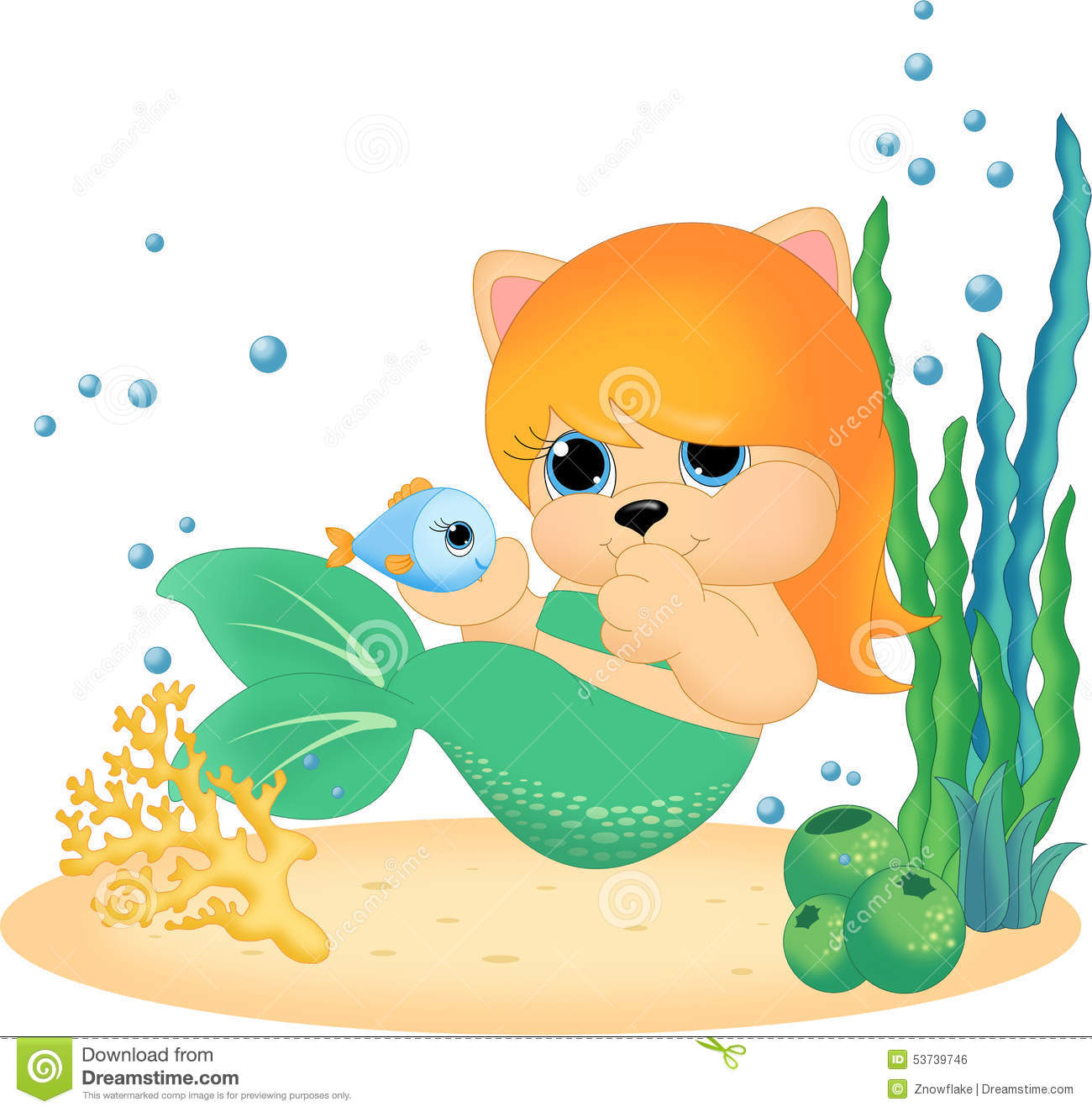 Mermaid with little fish stock illustration image 53739746 for Little mermaid fish