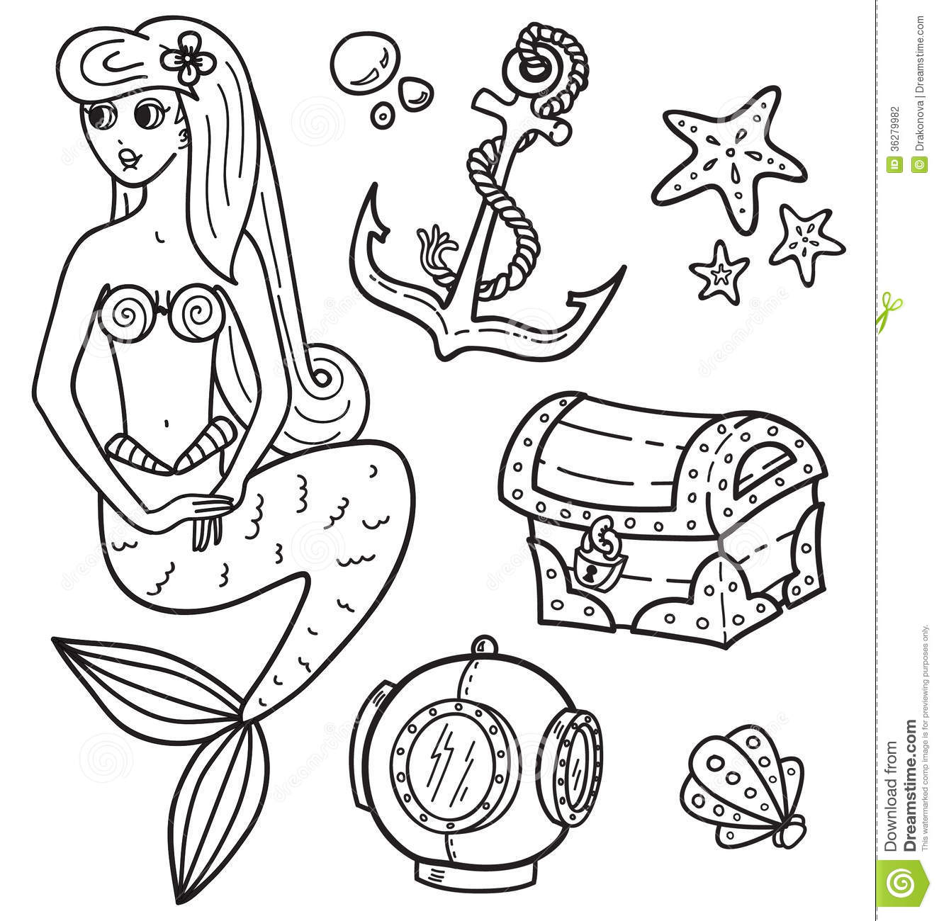 underwater sea coloring pages - mermaid and other underwater objects stock vector