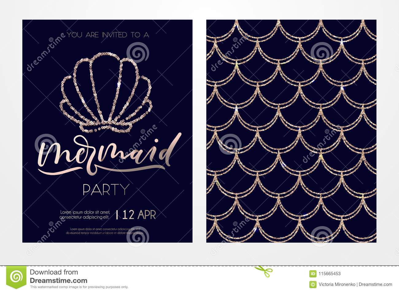 Mermaid party invitation card with rose gols seashell and letter mermaid party invitation card with rose gols seashell and lettering elegance design template for birthday anniversary summer party etc stopboris Image collections