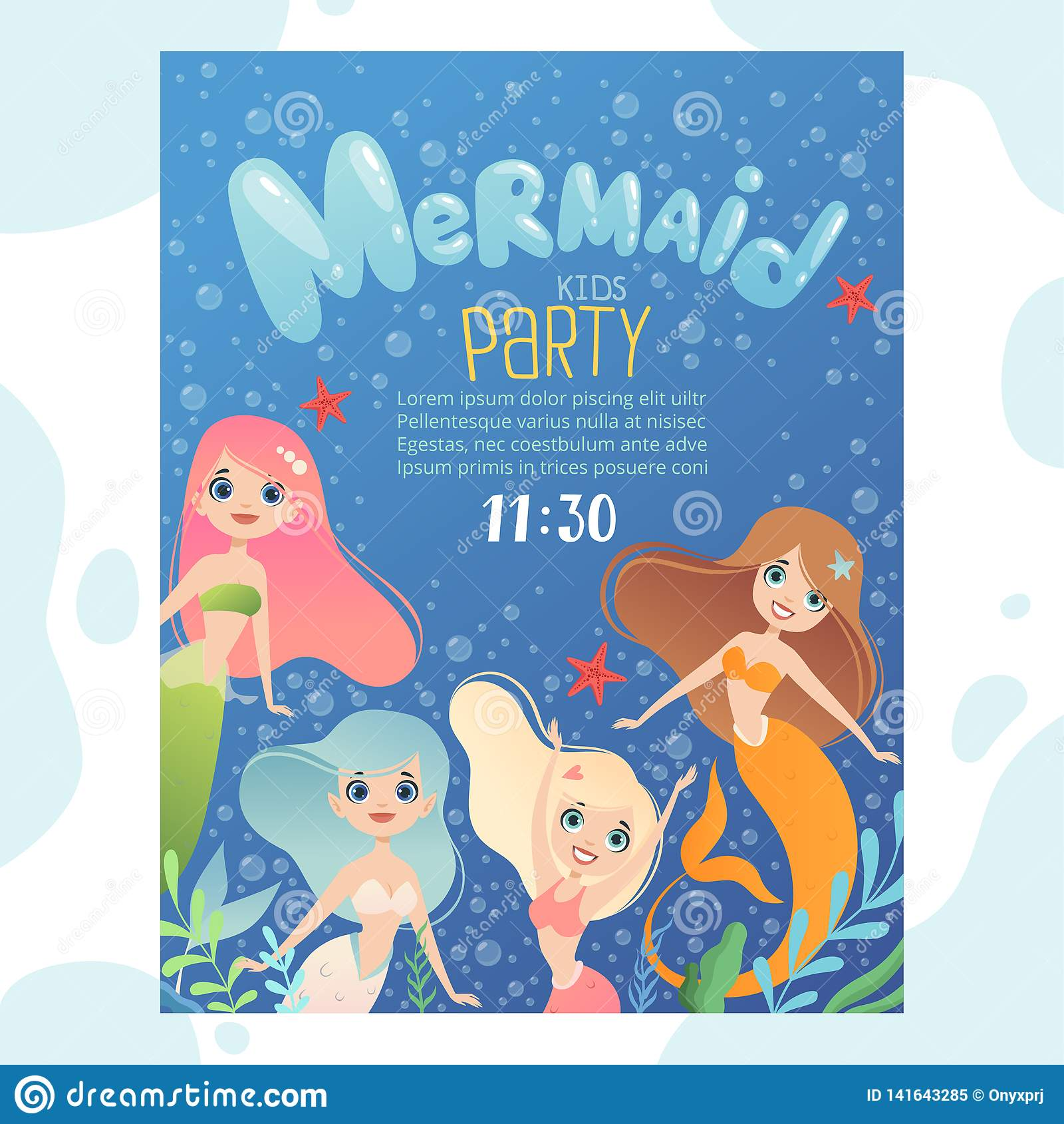 Awesome Mermaid Party Invitation Design Template Invite Kids Birthday Funny Birthday Cards Online Alyptdamsfinfo