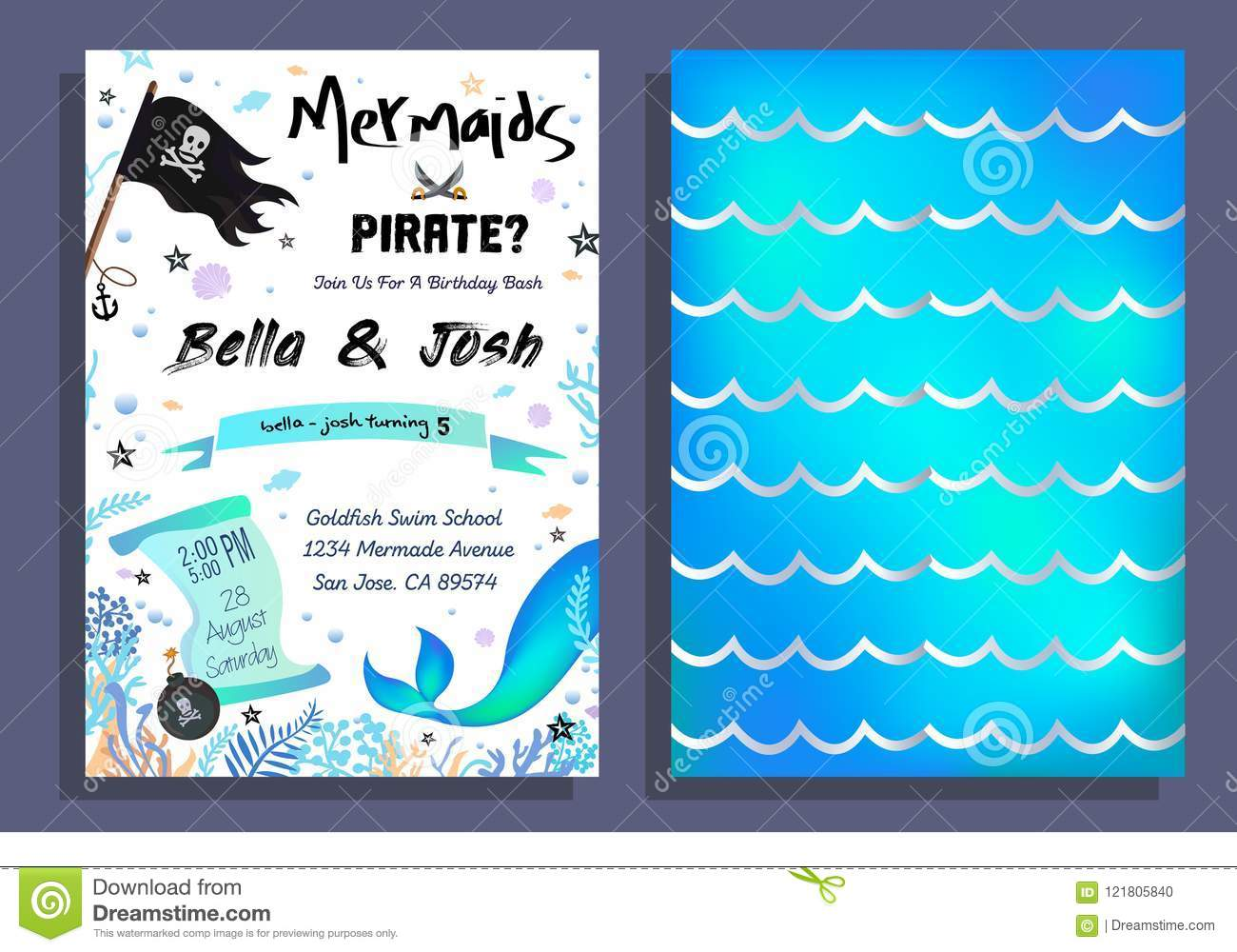 Mermaid And Pirate Party Invitation With Holographic Background Tail Flag Doodles Vector Birthday Card For Little Boy