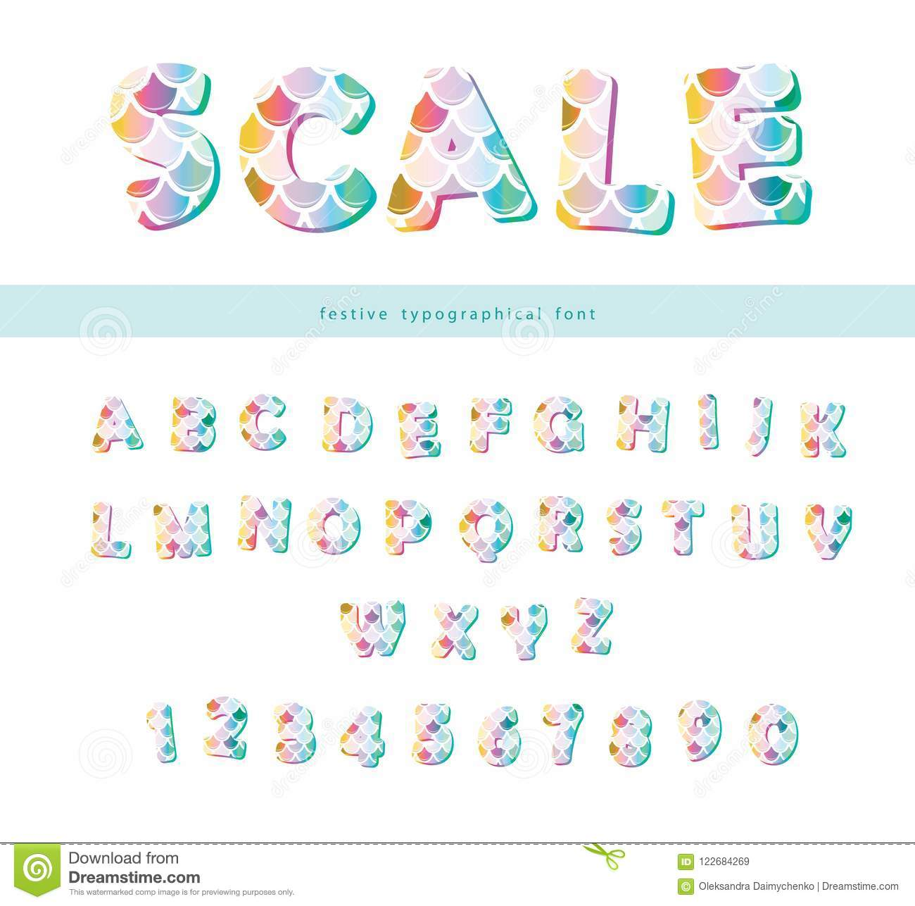mermaid scale trendy font cute alphabet for mermaid birthday cards