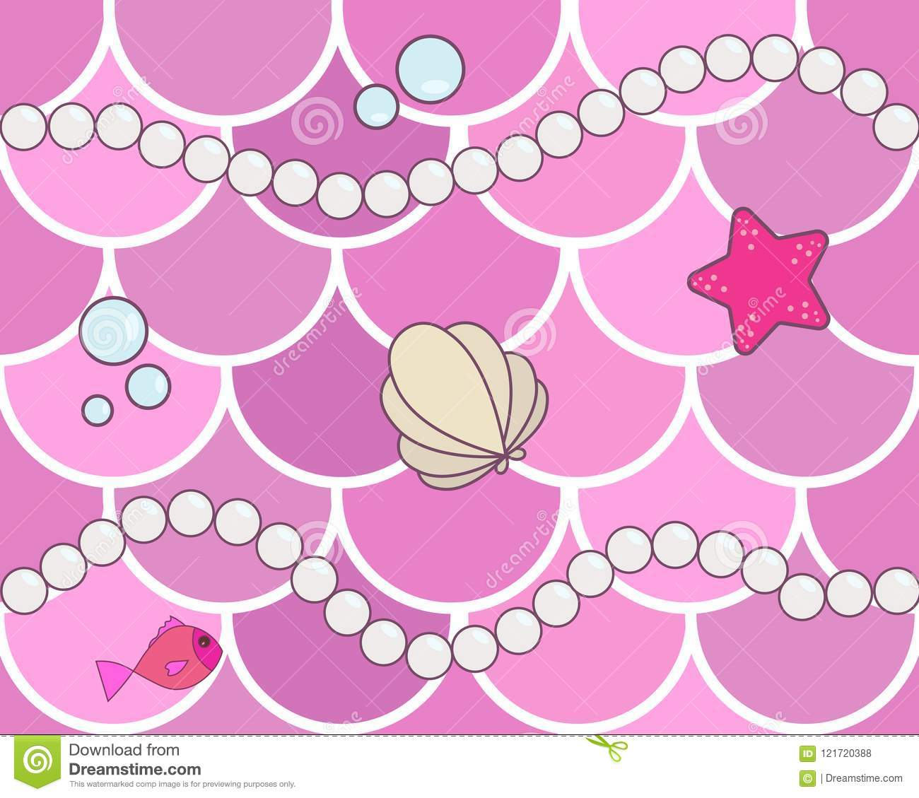 Mermaid scales seamless background pattern. Pink fish scales wit