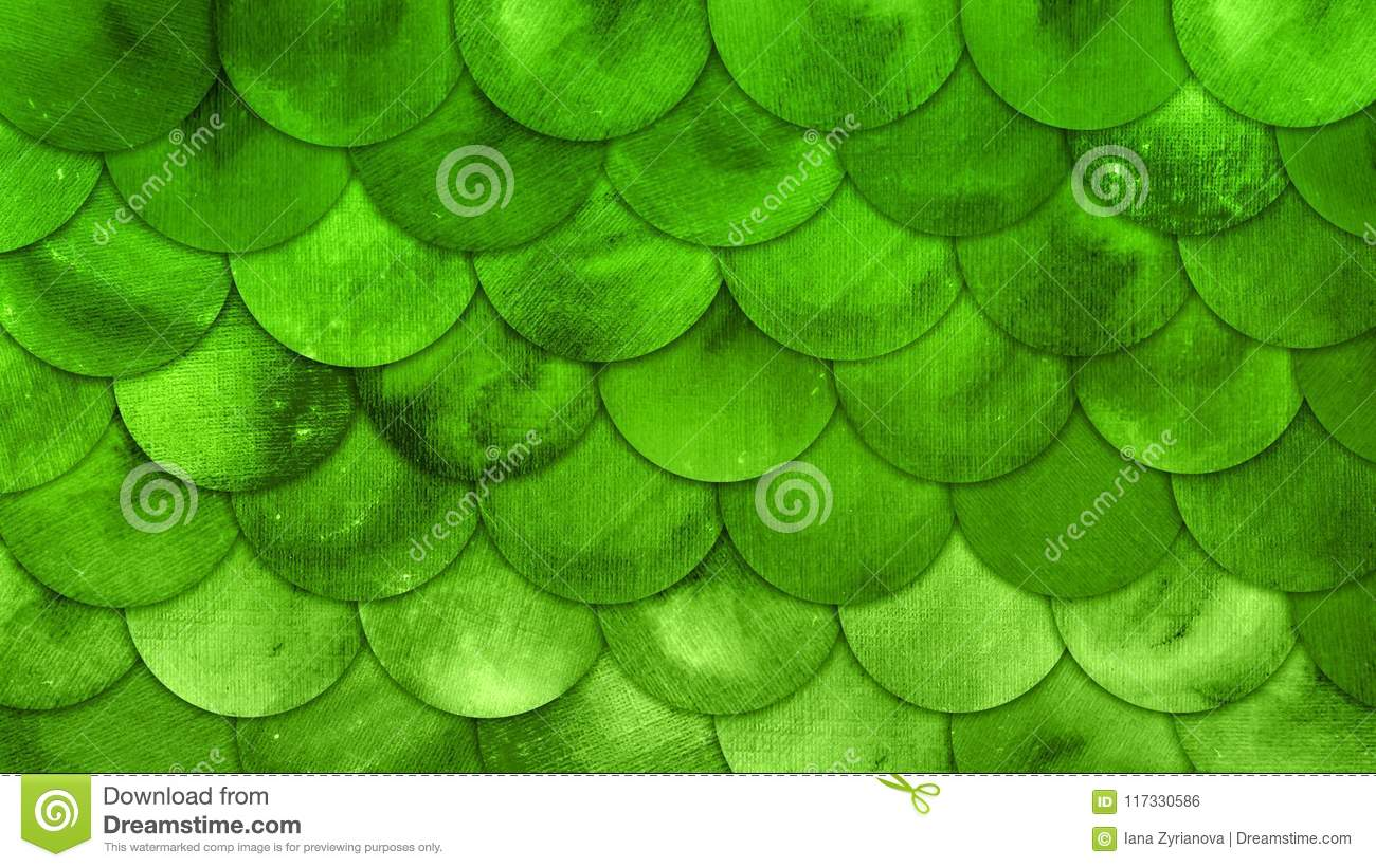 mermaid scales watercolor fish squame green grunge background stock