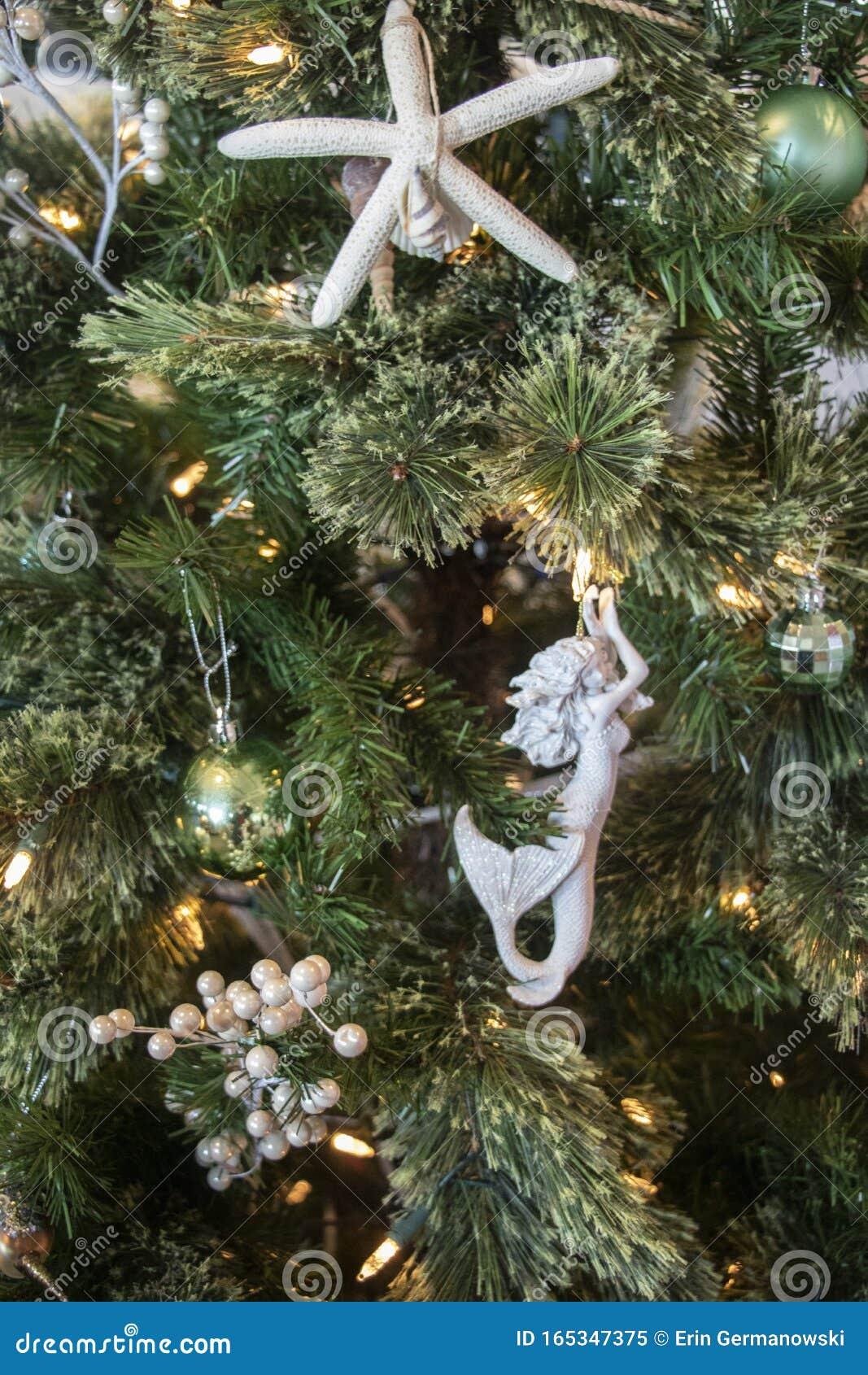 Mermaid In The Sea Christmas Tree Detail Stock Image Image Of Mermaid Time 165347375
