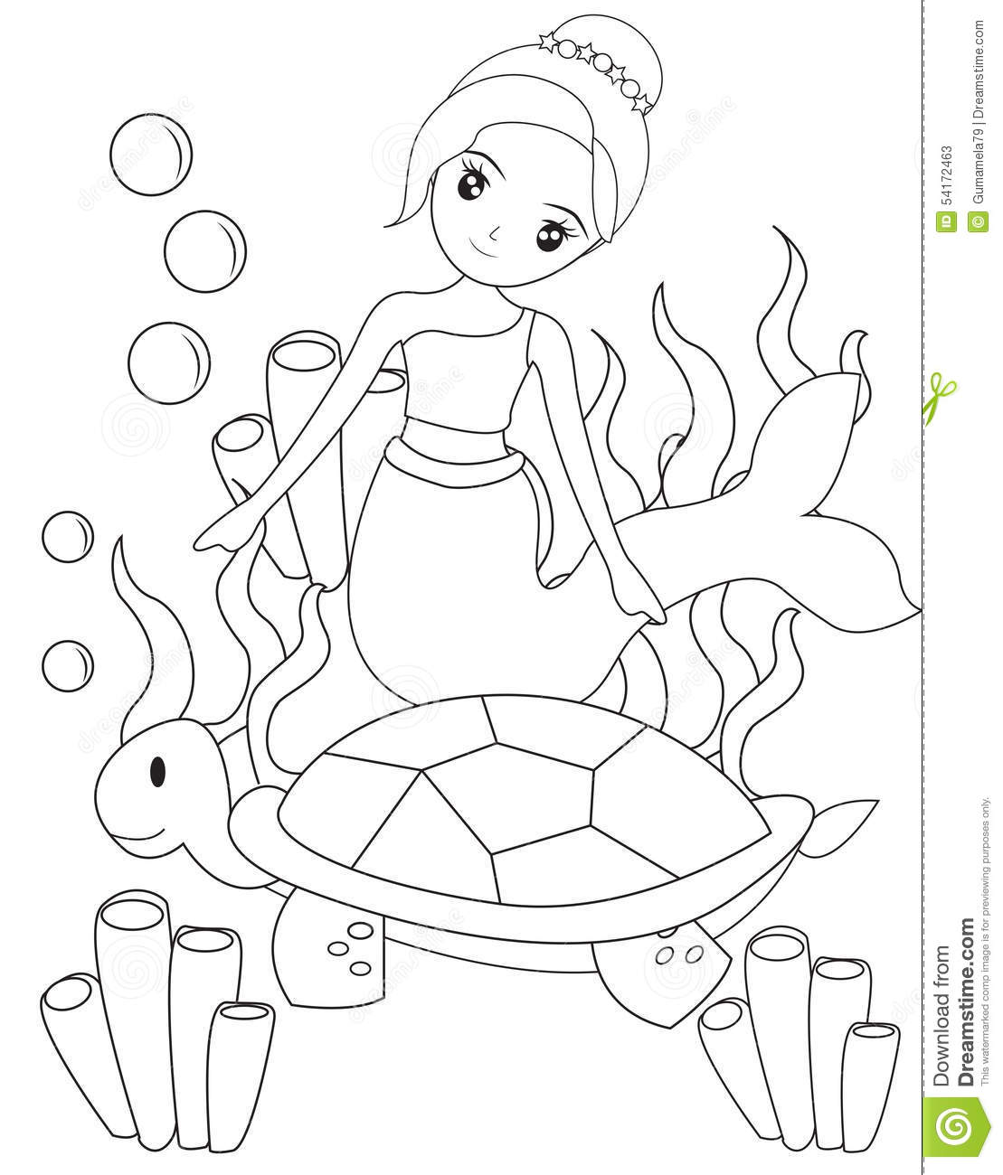 The Mermaid And Turtle Coloring Page Stock
