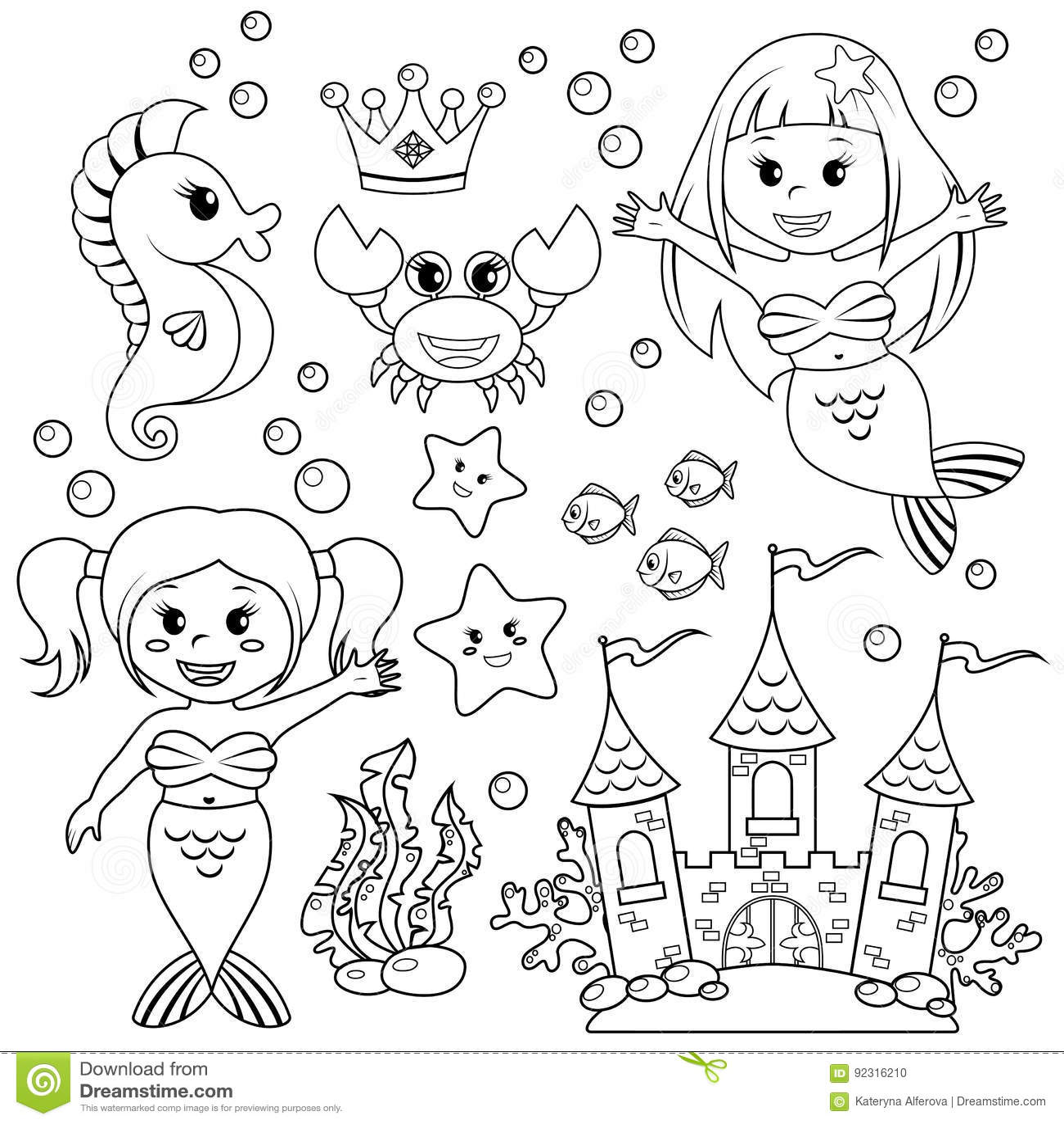 Mermaid, Underwater Castle And Sea Animals. Fish, Starfish ...