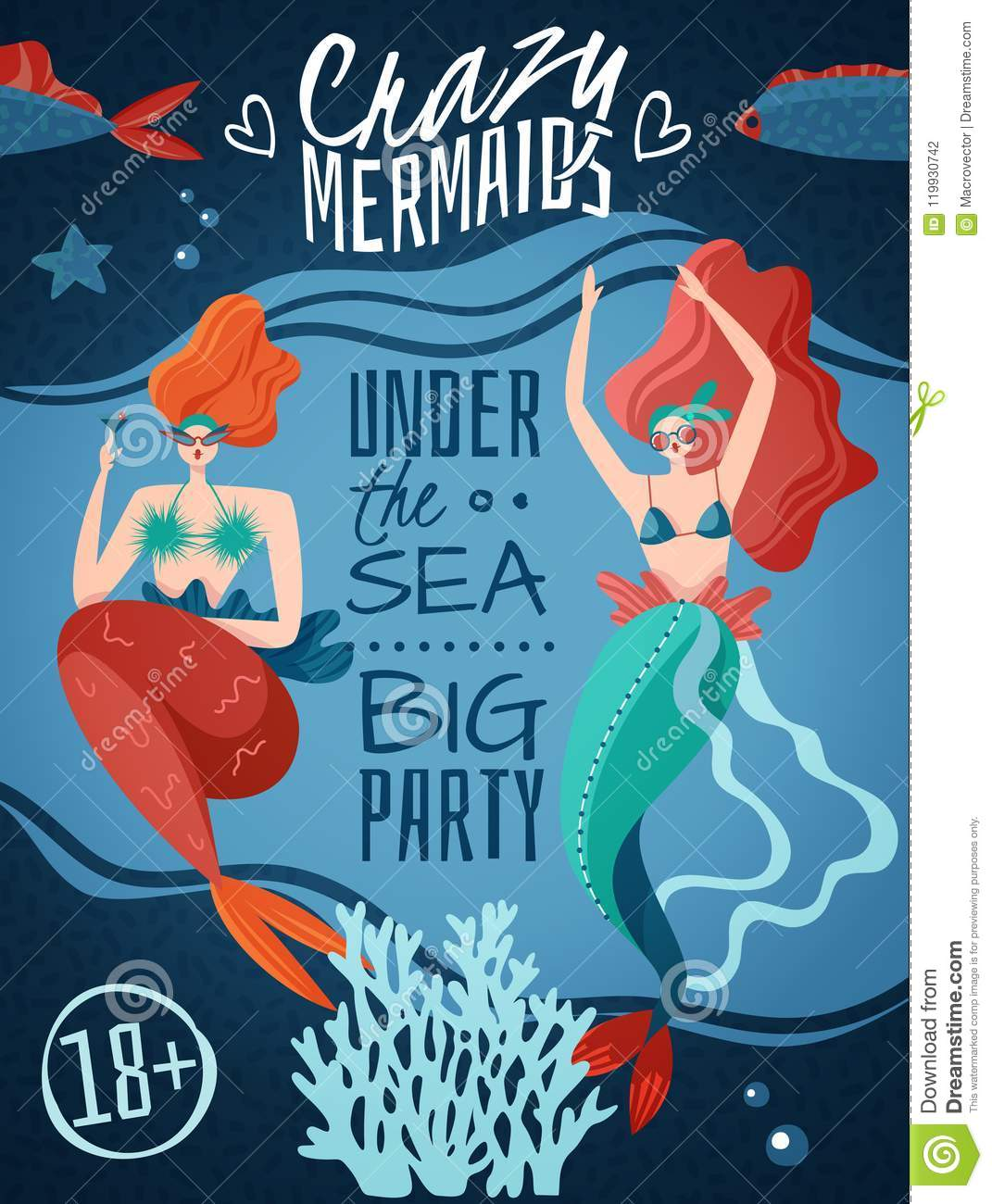 mermaids party poster stock vector illustration of announcement