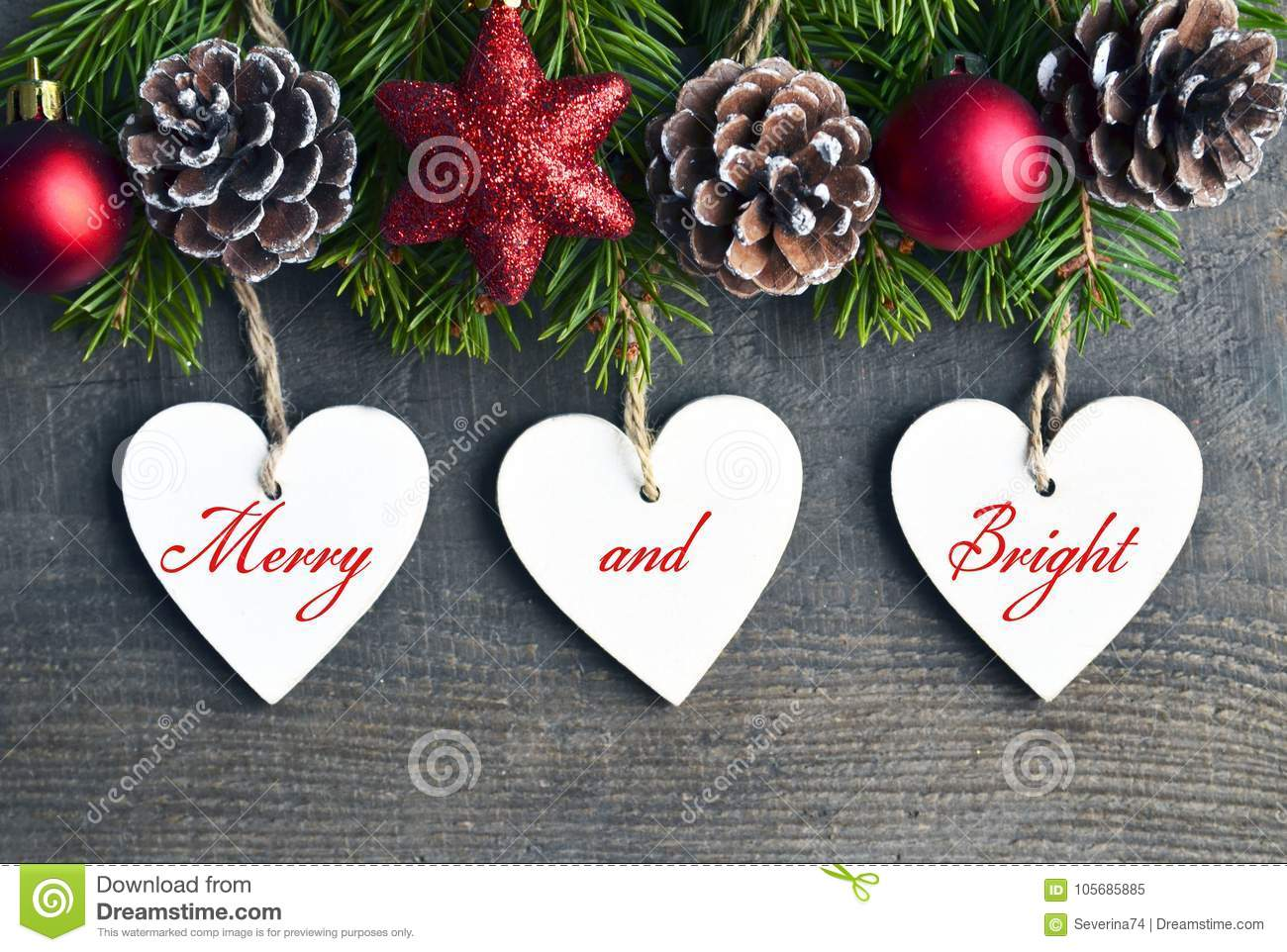 merry and brightchristmas decoration with fir treepine cones and white wooden - Merry And Bright Christmas Decorations