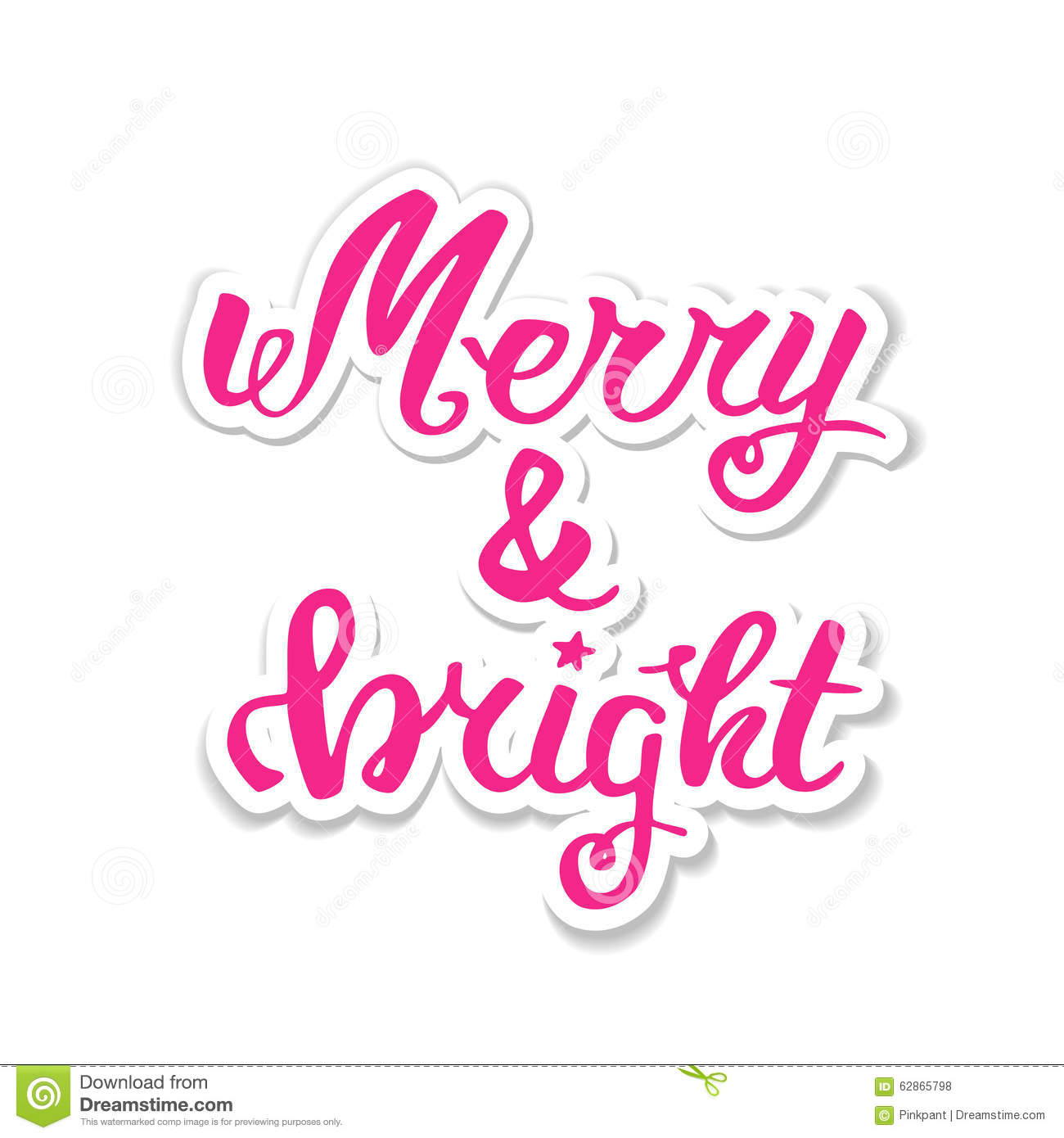 Merry And Bright. Greeting Hand Lettering, Hand Calligraphy. Vector ...
