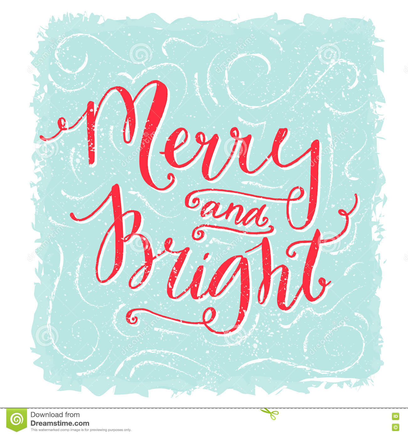 Merry And Bright Lettering. Christmas Greeting Card. Red Handwritten ...