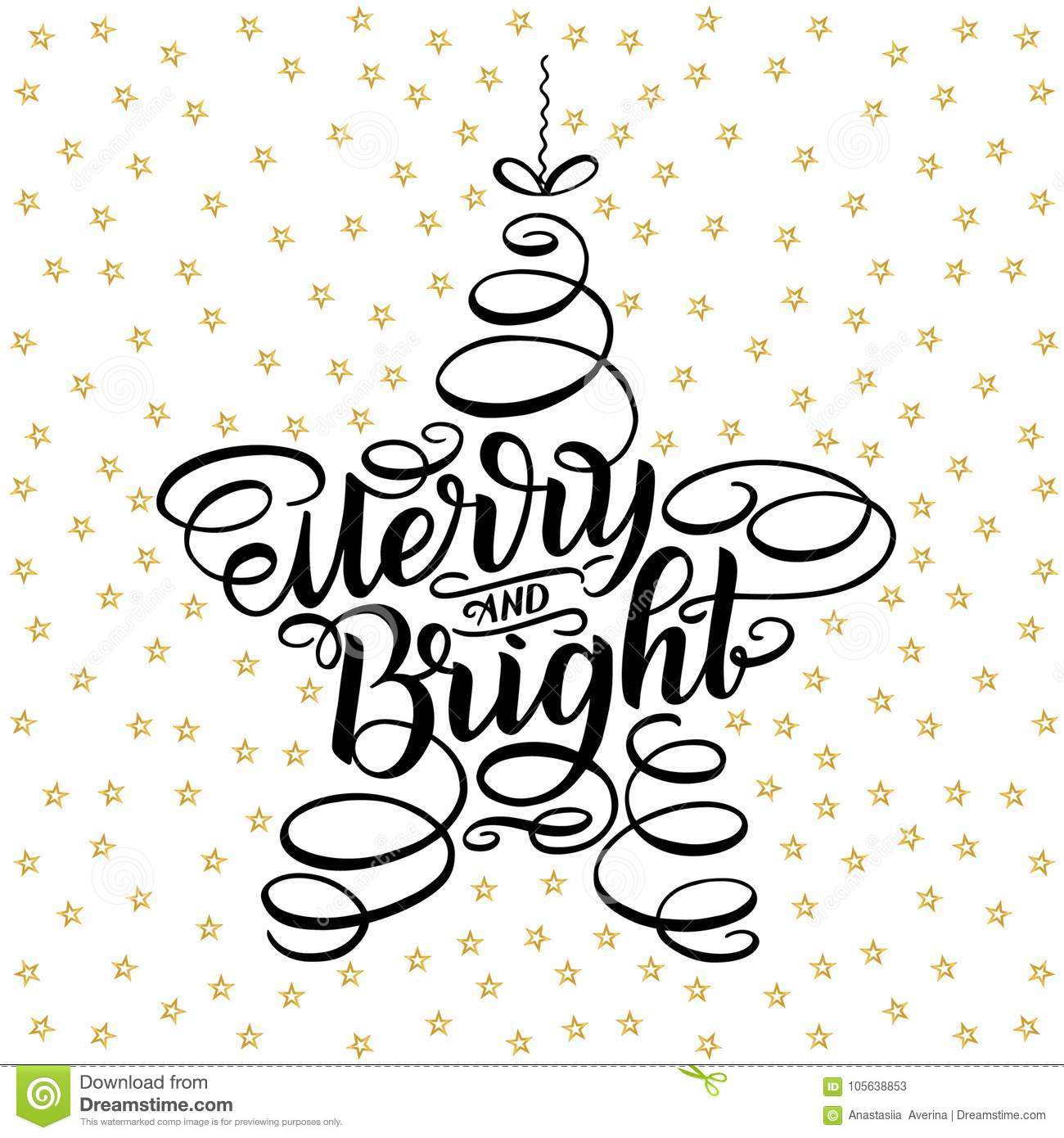 Merry And Bright Lettering Framed In Star Tree Toy. Hand Drawn ...