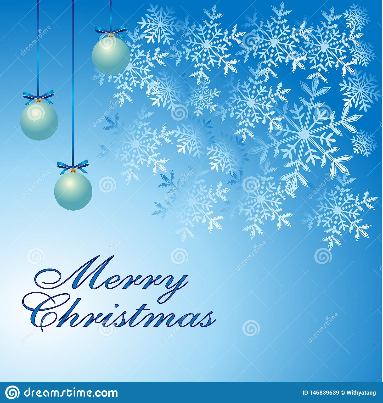 Merry Christmas greeting card, snowflakes, three blue decorative balls on winter blue background.vector illustration.