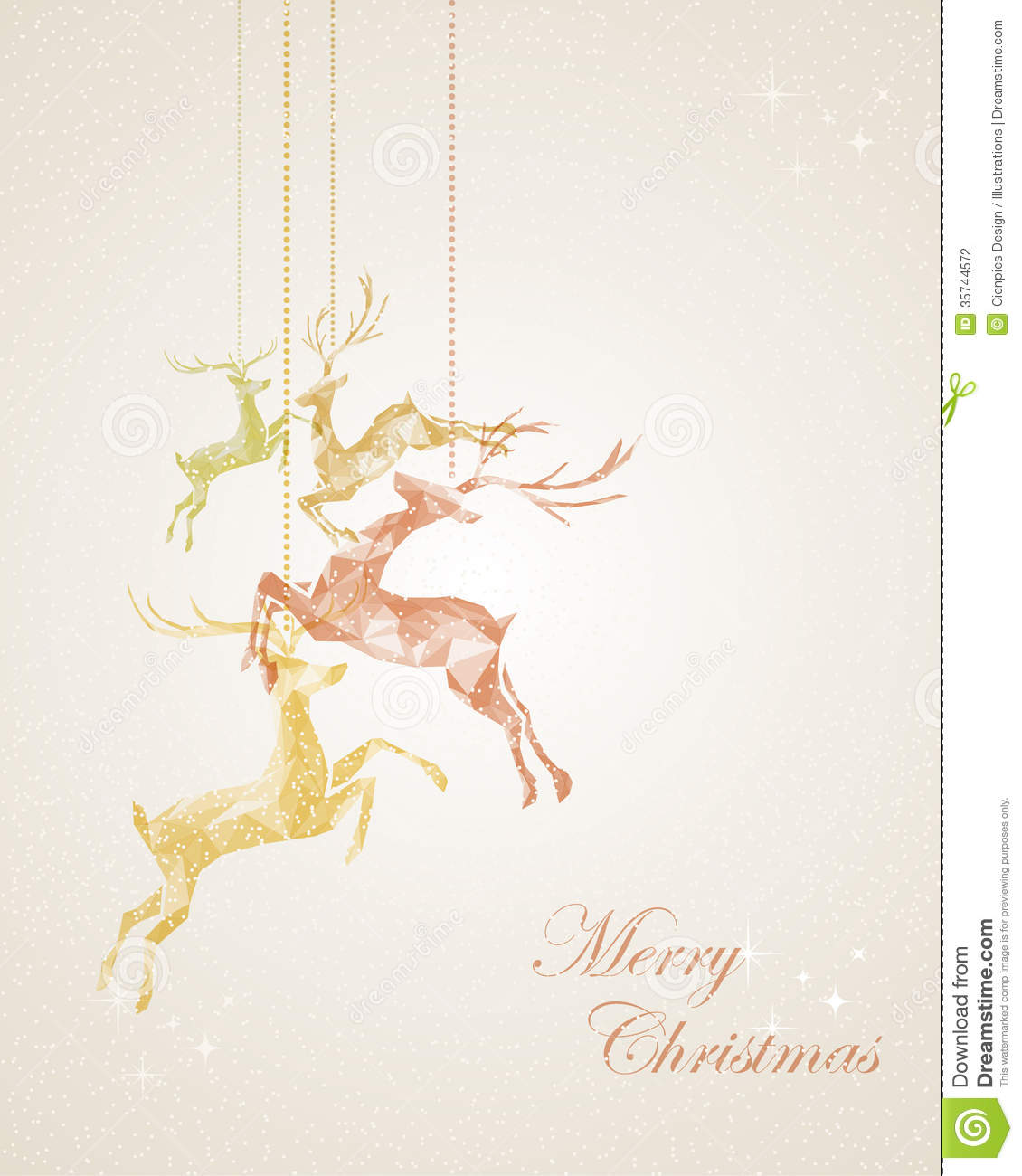 Merry Christmas Abstract Hanging Reindeer Greeting Stock Photography ...
