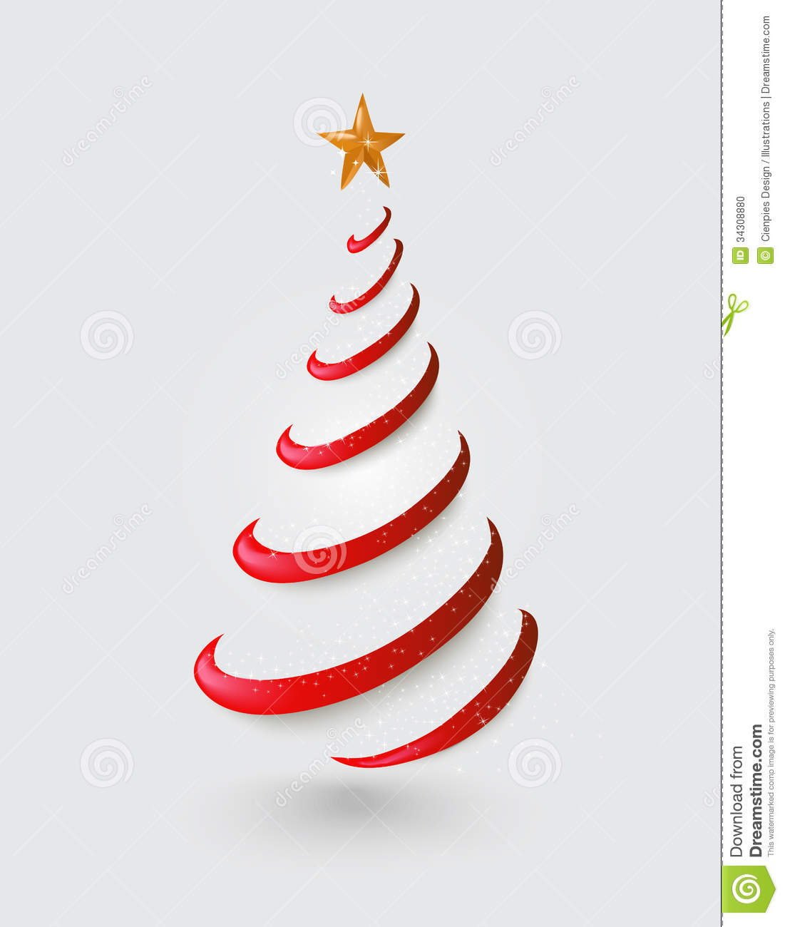 Merry Christmas Abstract Red Tree, Golden Star EPS Stock Photo ...