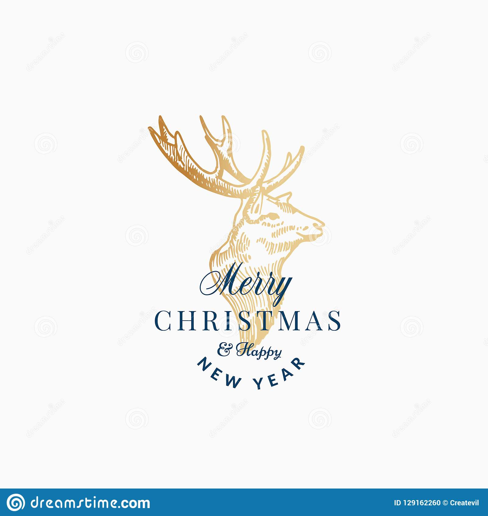 Merry Christmas Abstract Vector Retro Label Sign Or Card Template Hand Drawn Golden Reindeer Deer Head Sketch Illustration With Vintage Typography