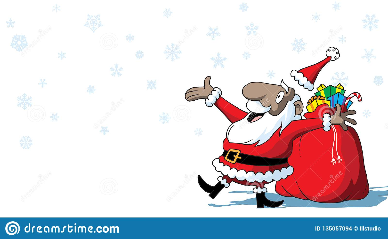 Merry Christmas African American Santa Claus With Toys On White Background With Snowflakes Stock Illustration Illustration Of Holiday Claus 135057094