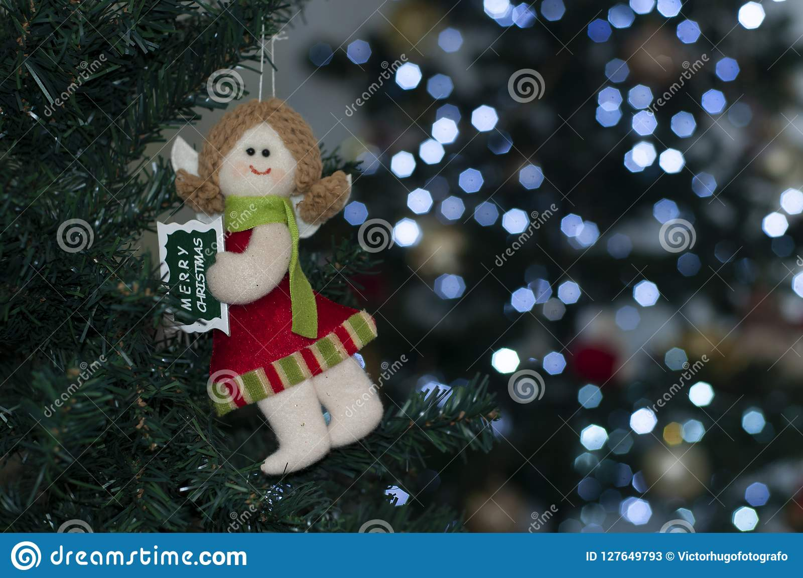 Merry Christmas Angel On The Tree With Space To Write Christmas ...