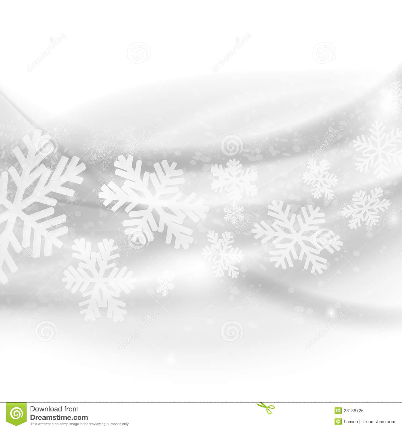Merry Christmas background. Abstract light grey waves with snow