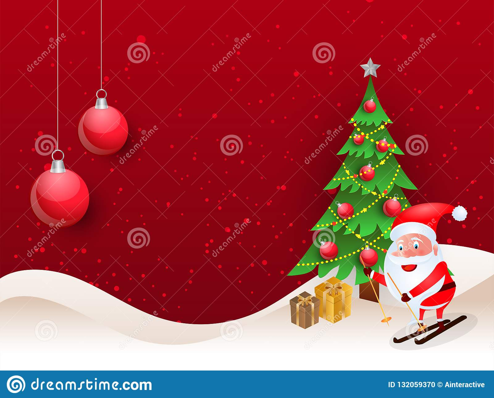 Merry Christmas Background With Cute Santa Clause Riding On