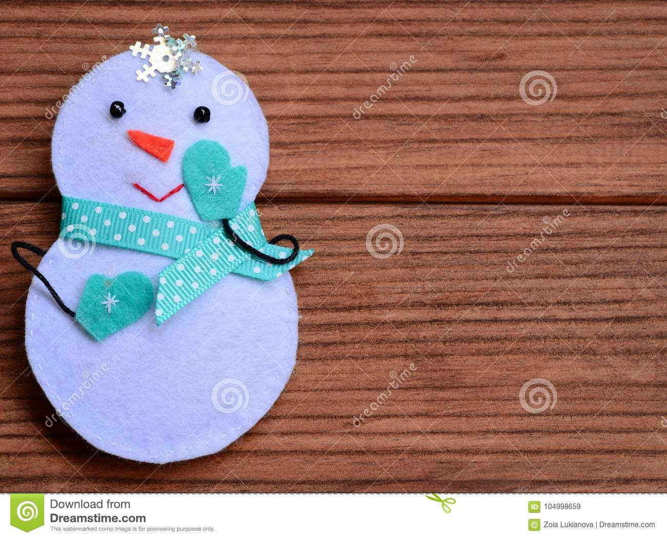 Merry Christmas Background Cute Christmas Snowman Decoration On A