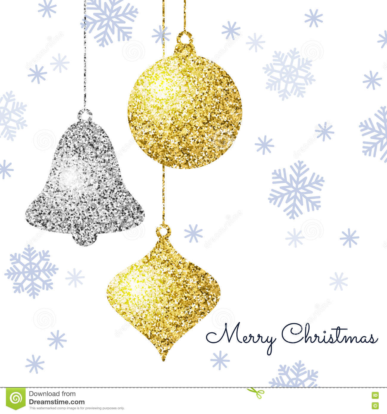 Merry Christmas Background With Gold And Silver Hanging Baubles ...