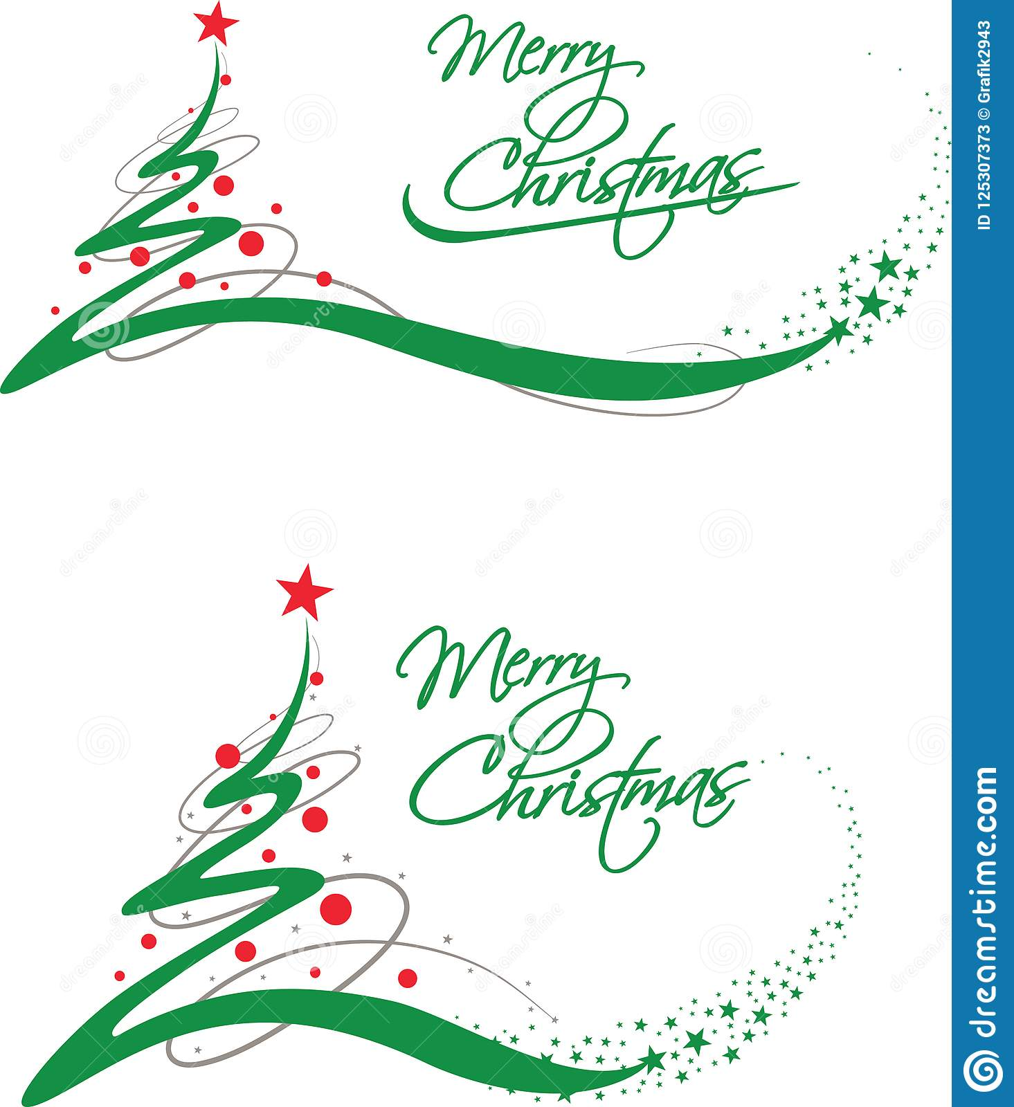 Merry Christmas Gift Card With Green Tree And Stars Stock Vector ...