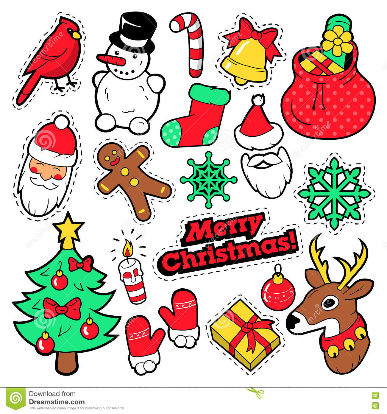 merry christmas stickers vector merry christmas badges patches stickers santa claus snowman snowflake christmas tree in