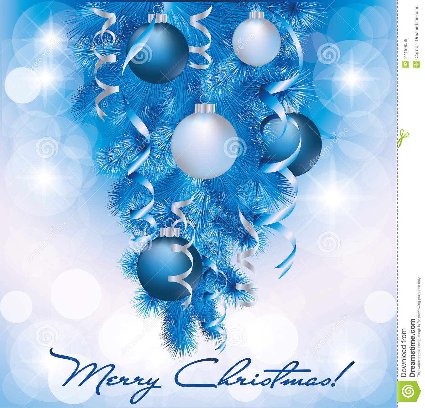 merry christmas banner with blue silver balls royalty free