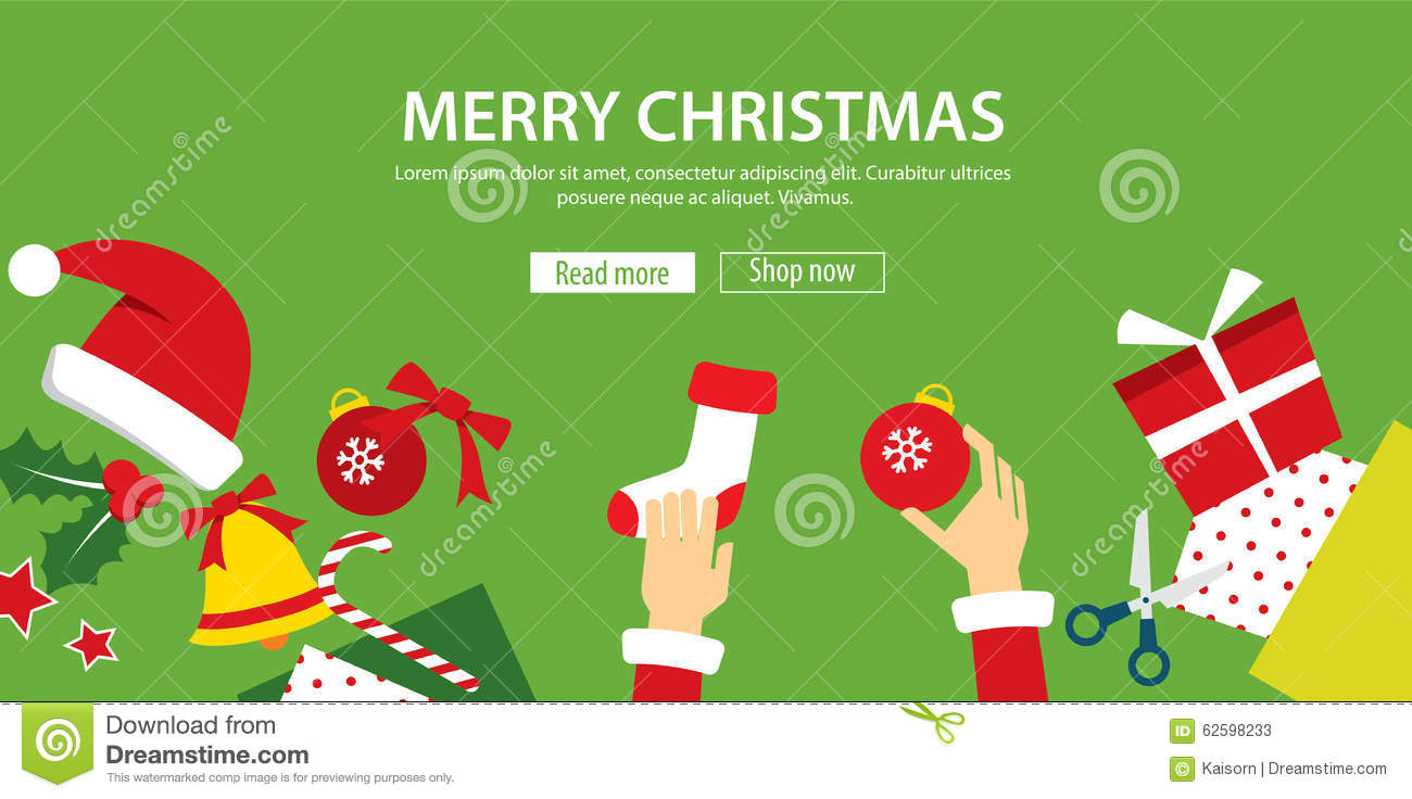 Merry Christmas Banner Flat Design Stock Vector - Image: 62598233