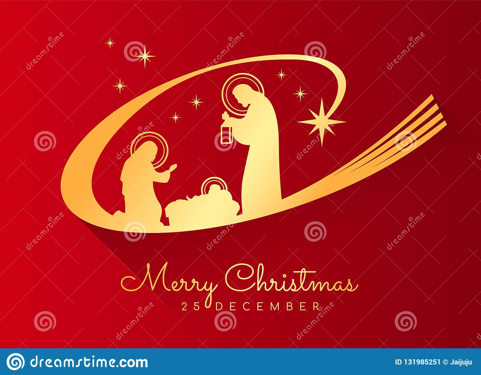 Merry Christmas Jesus.Merry Christmas Banner With Gold Nightly Christmas Scenery