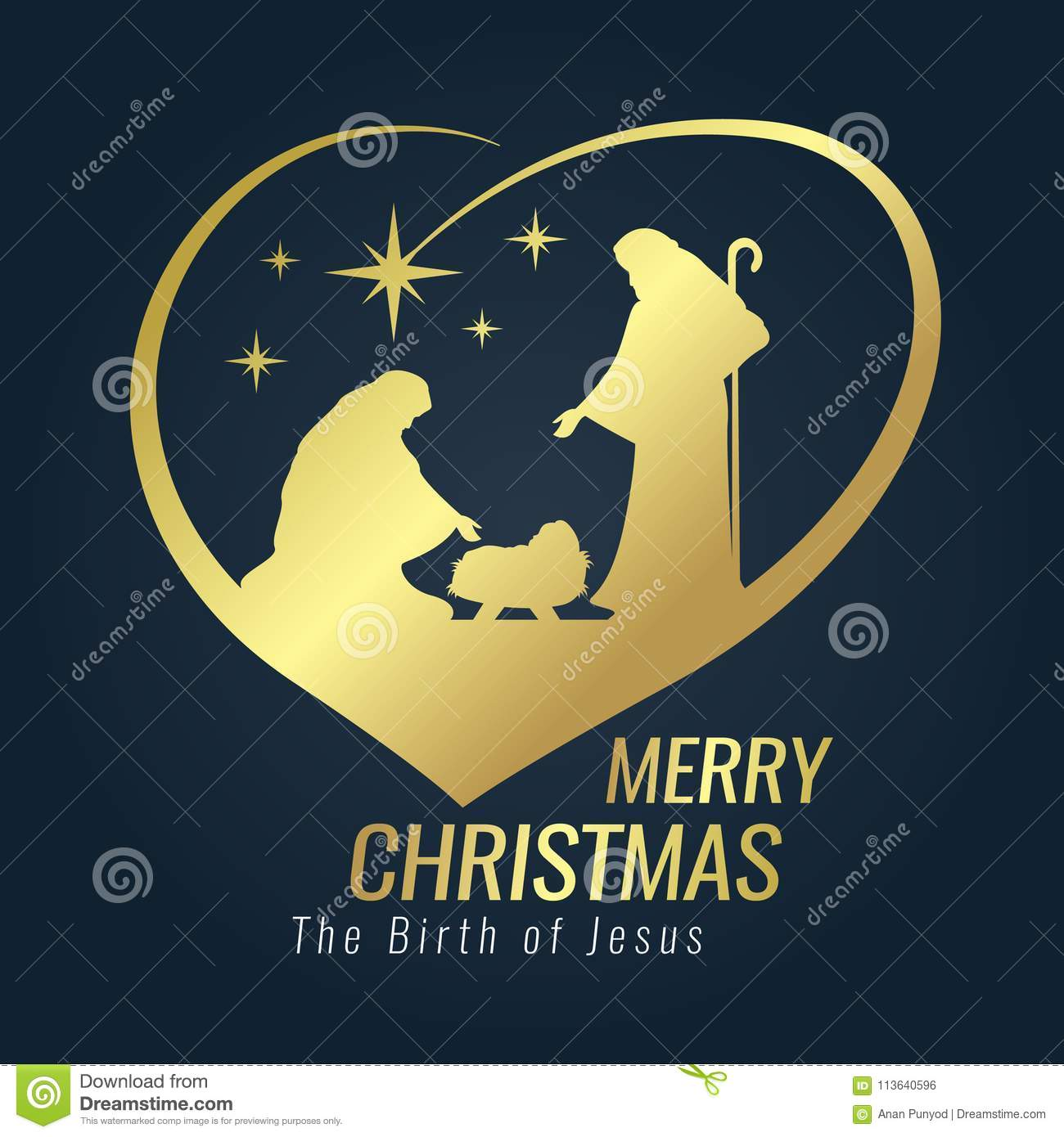 Merry Christmas Banner Gold Sign With Nightly Scenery Mary And Joseph In A Manger Baby Jesus Meteor Heart On Blue Background