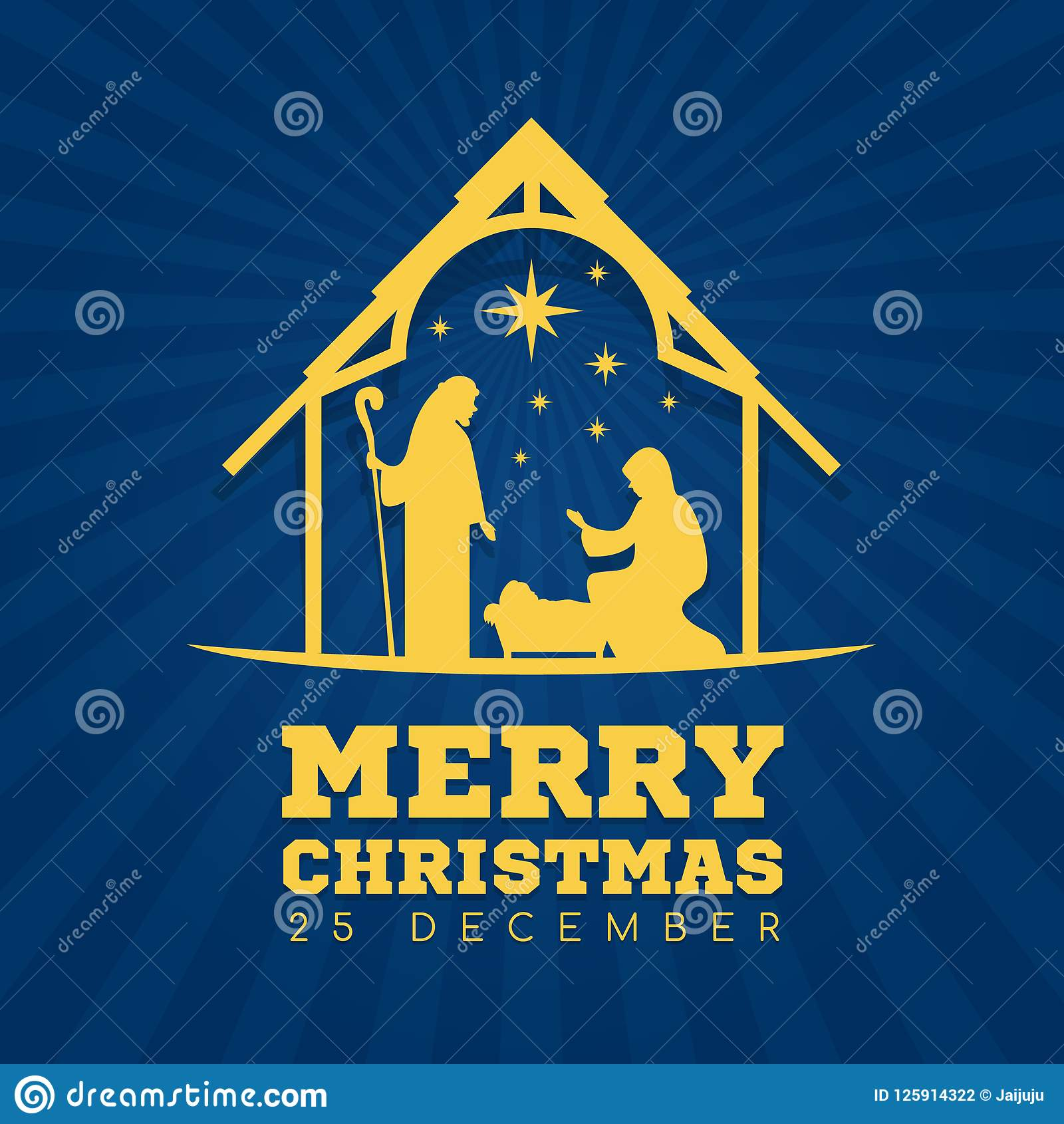 Merry Christmas Banner Sign With Nightly Christmas Scenery Mary And ...