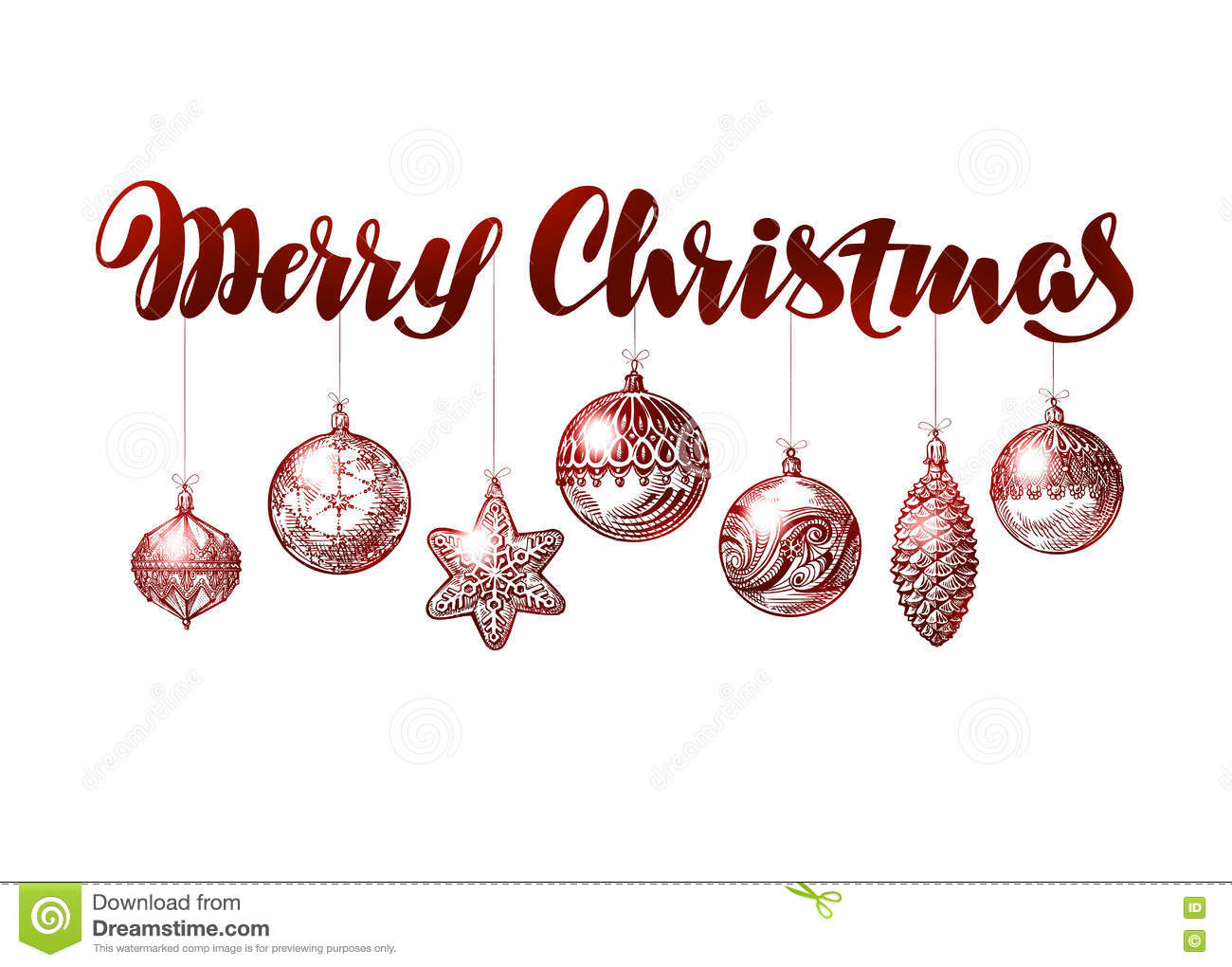 Merry Christmas Banner. Vintage Xmas Decoration Sketch Vector ...