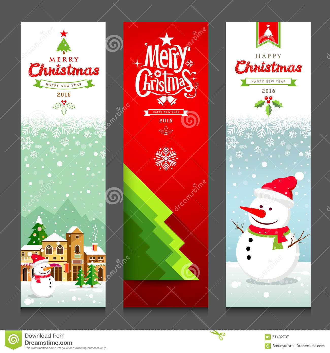 Merry christmas banners design vertical collections stock vector