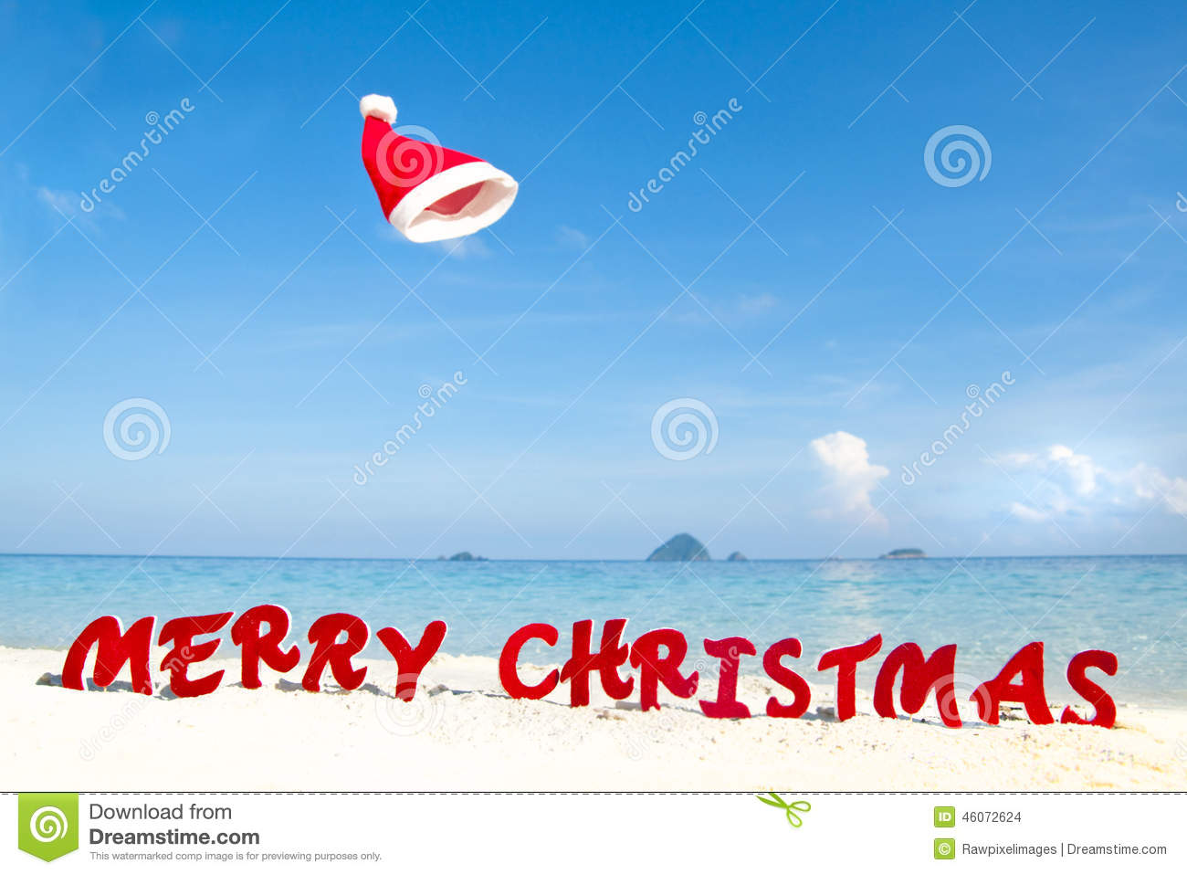 merry christmas on the beach theme stock images