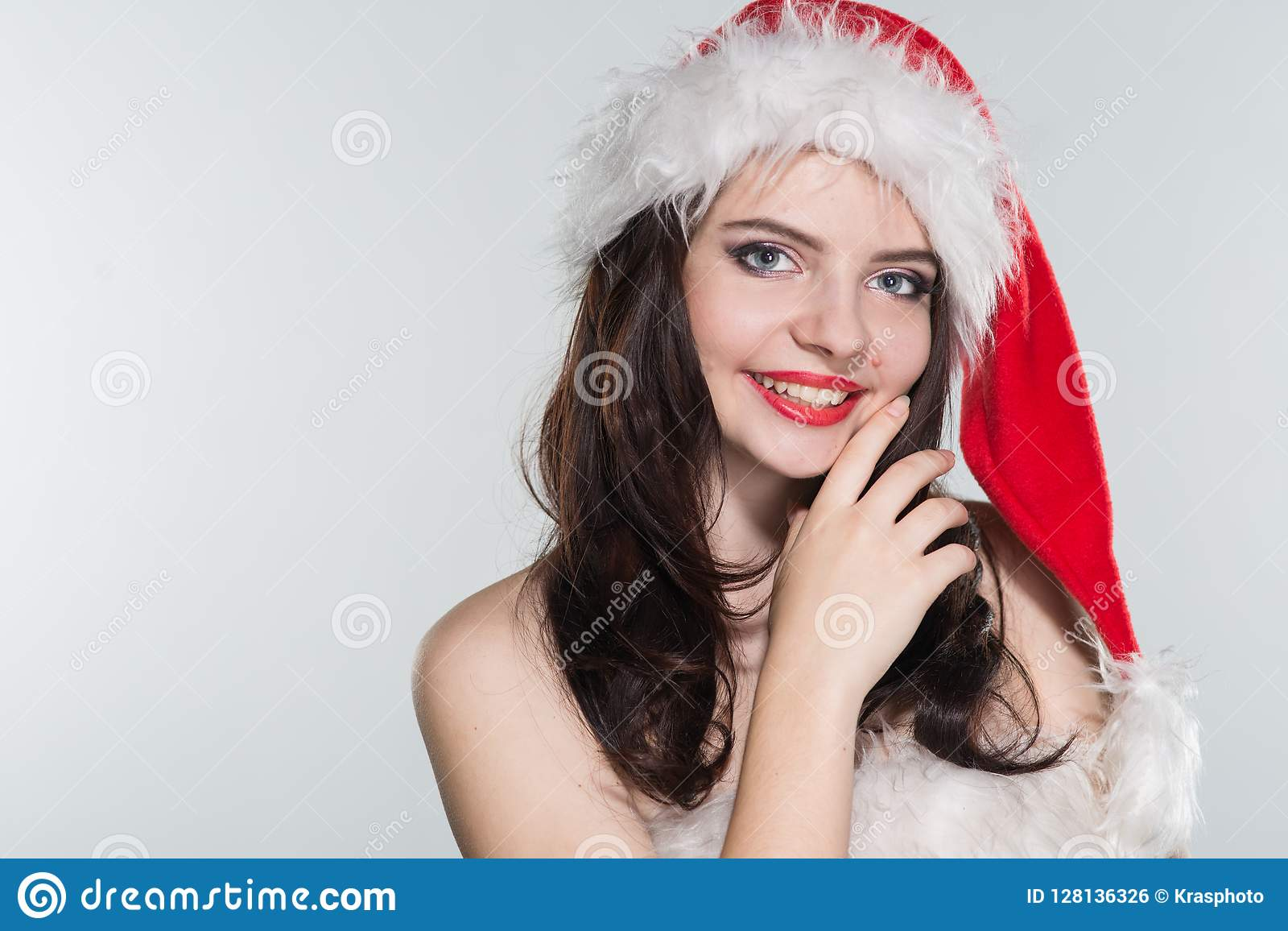 Merry Christmas Beautiful Young Woman In A Red Mrs Claus Costume