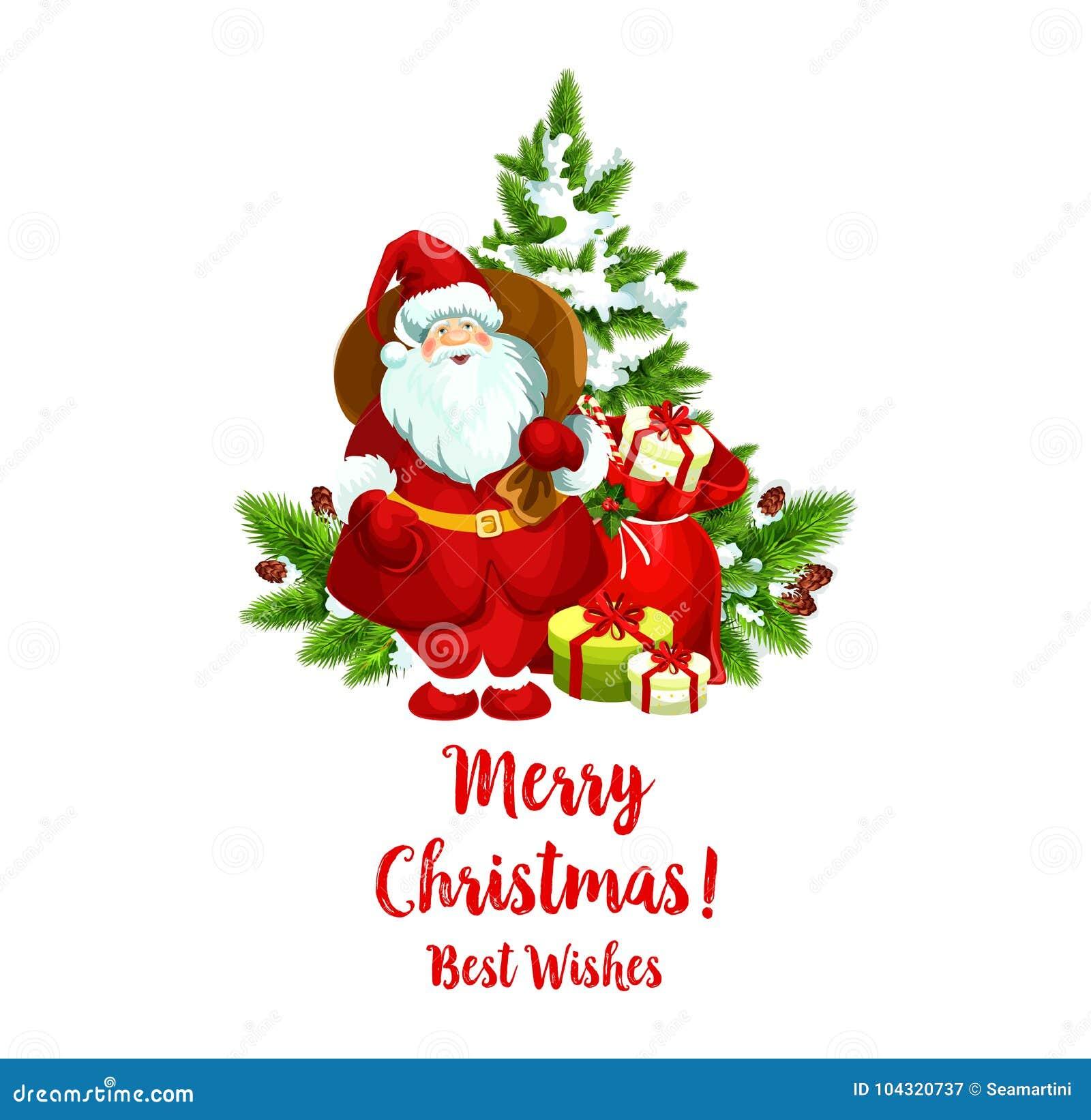 Merry Christmas Vector Santa Greeting Icon Stock Vector ...