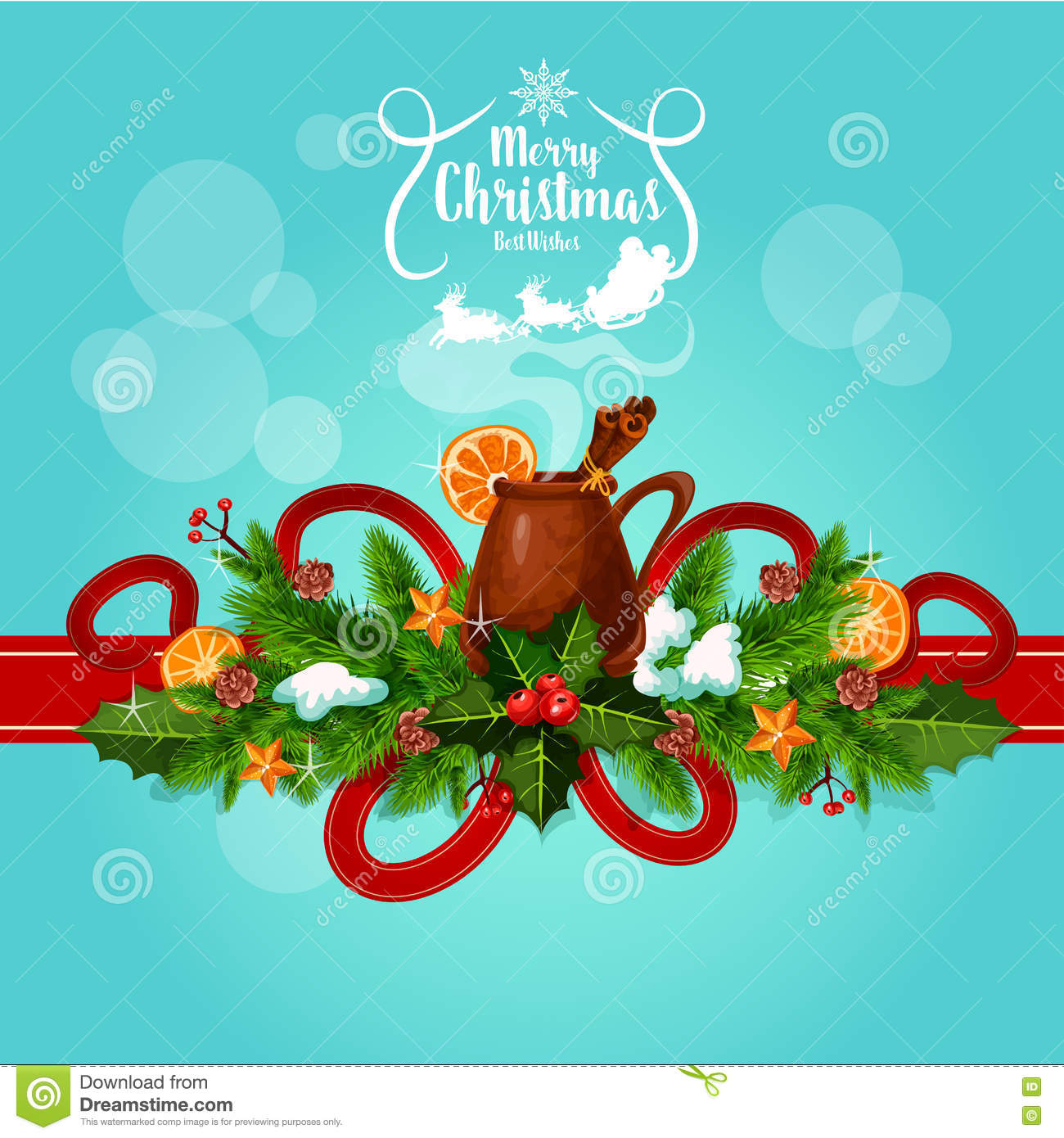 Merry Christmas Best Wishes Mulled Wine Greeting Stock Vector ...