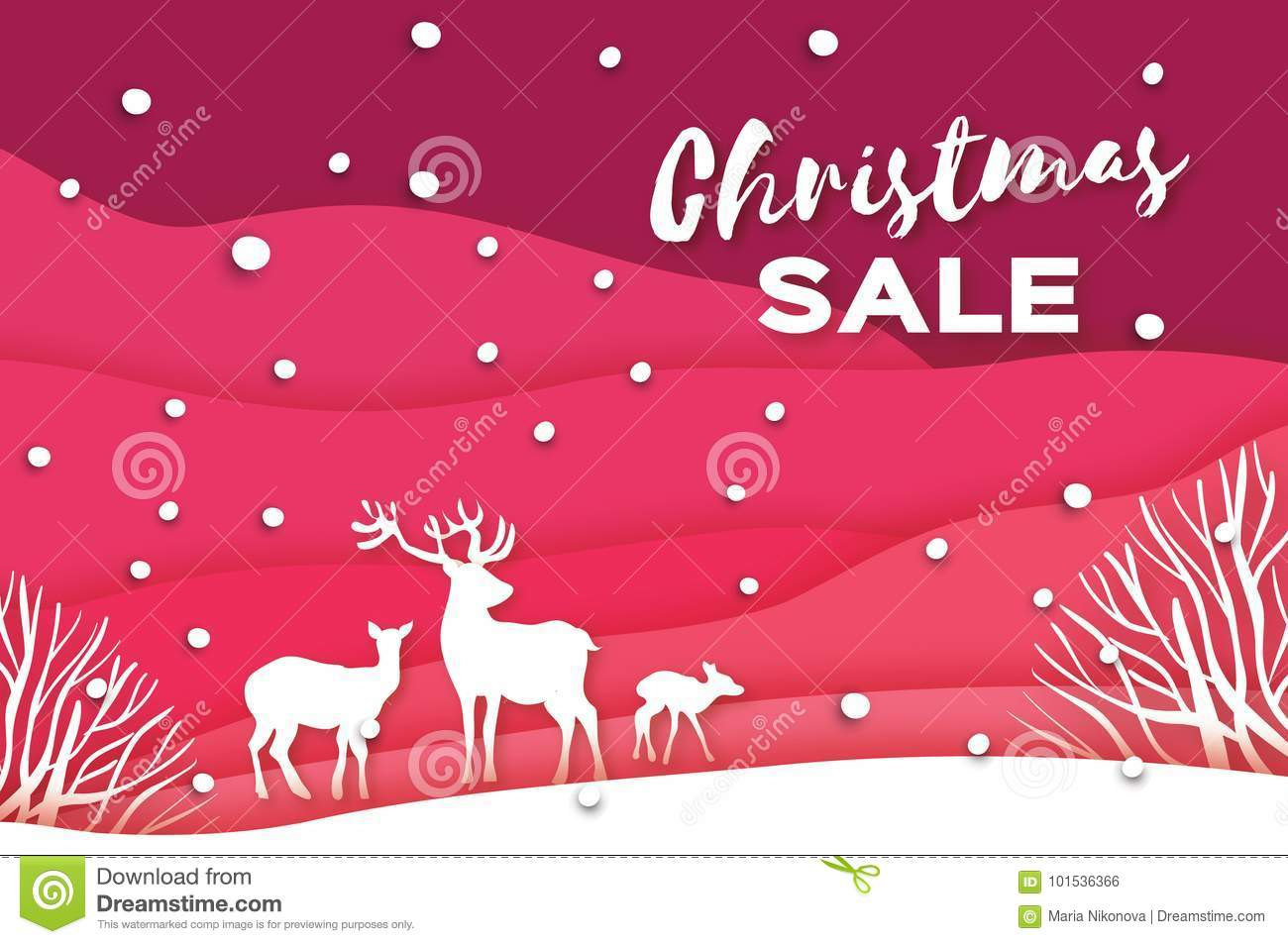 Merry Christmas Big Sale For Promotion Stock Vector Illustration