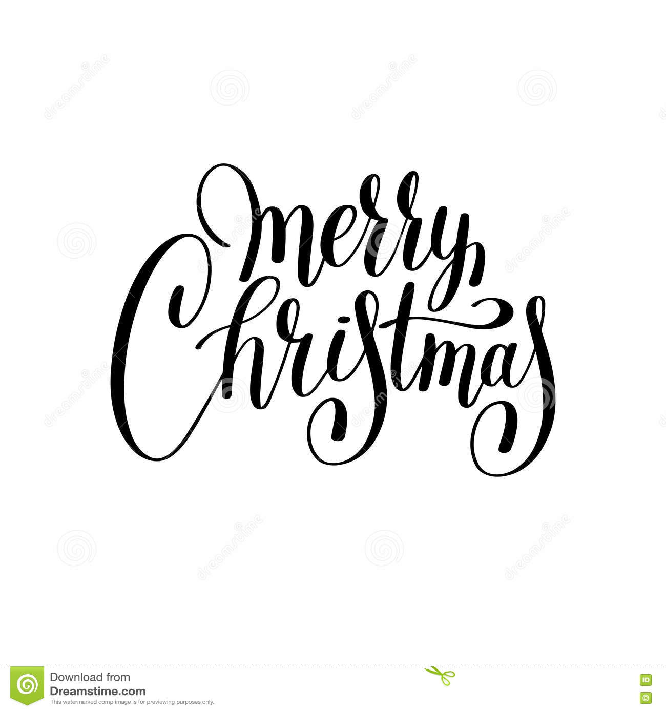 Merry Christmas Images Black And White.Merry Christmas Black And White Handwritten Lettering Stock