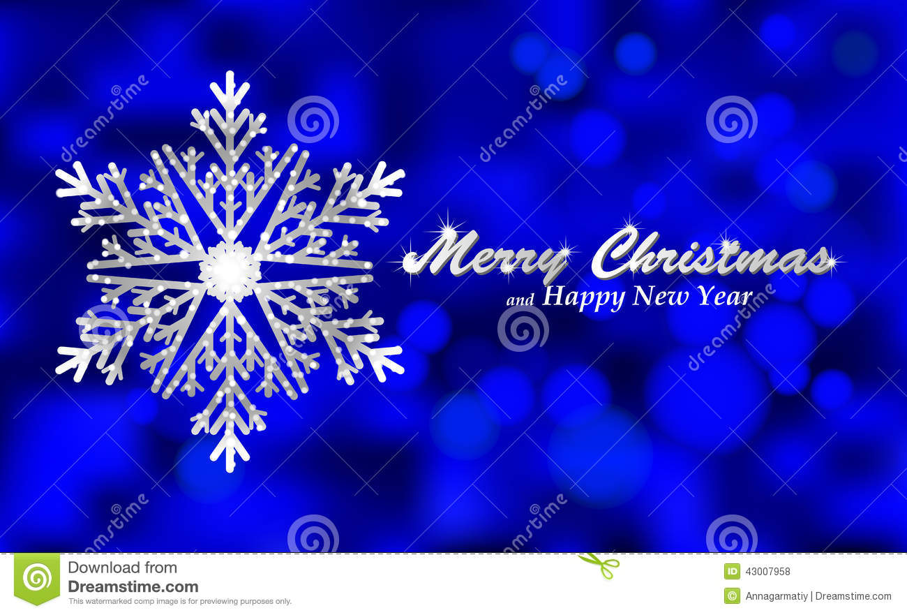 Merry Christmas Blue Background With Silver Snowflake Stock Vector ...